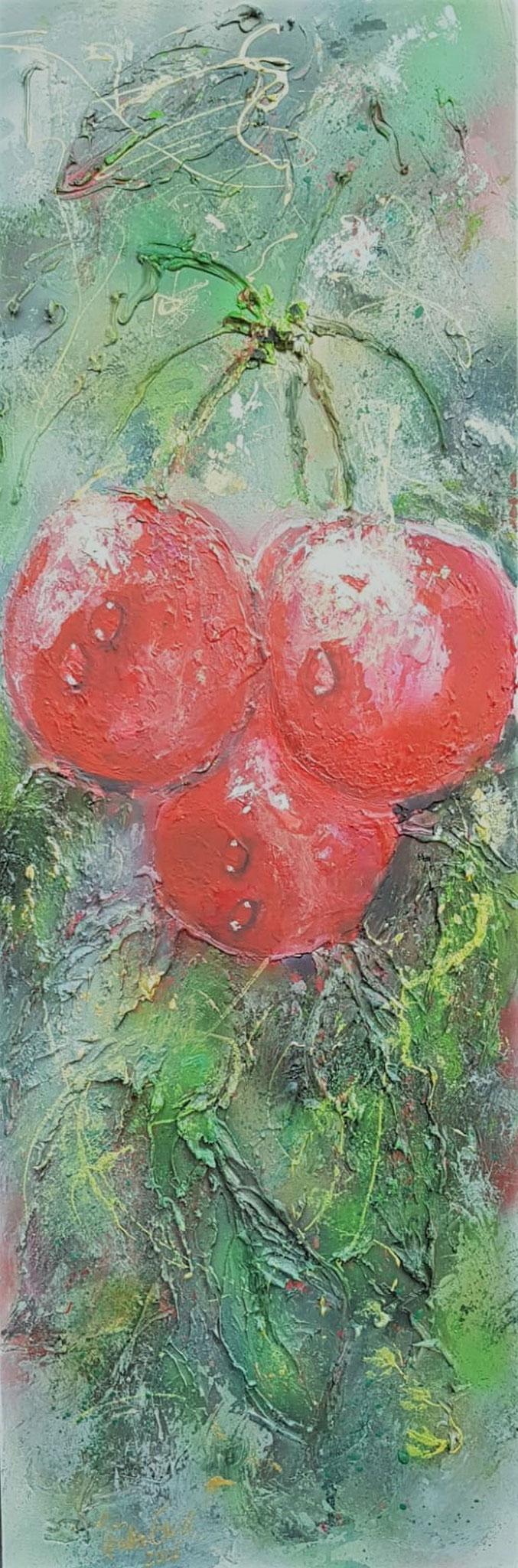 Cherry (Technik:  Acryl Mixed Media)1,20 m X 40 X 1,5 cm auf Leinwand