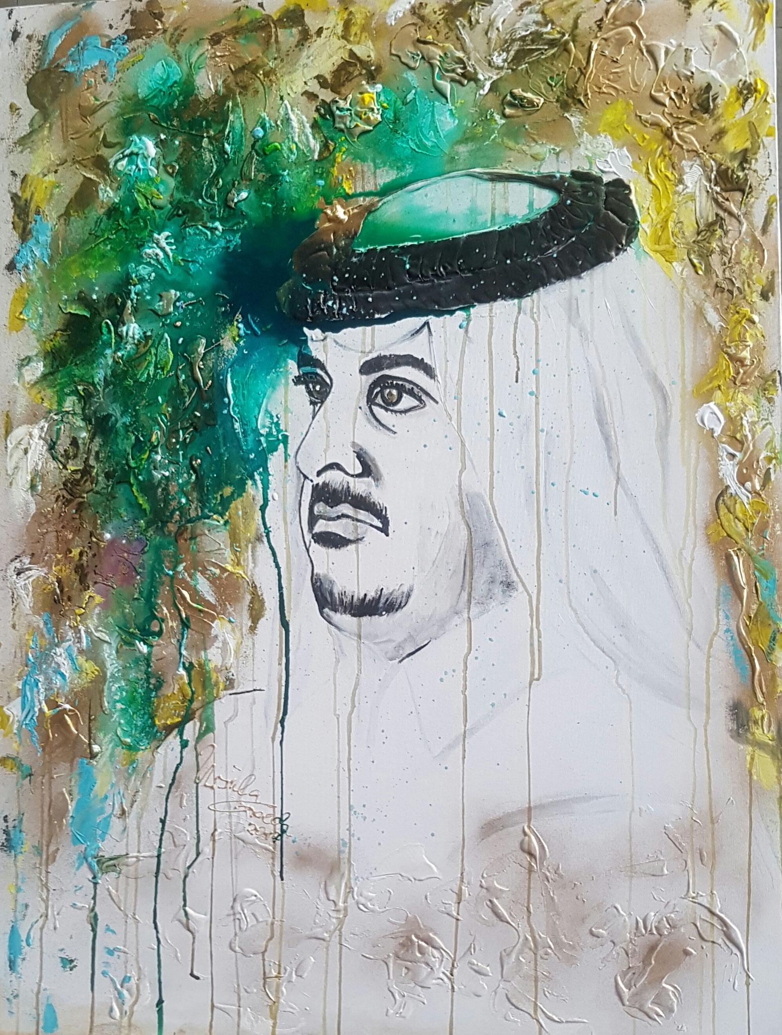 Scheich Tamim bin-Hamad al-Thani von Katar (Technik: Acryl/mixed Media Leinwand: 1,20 m X 90 cm)