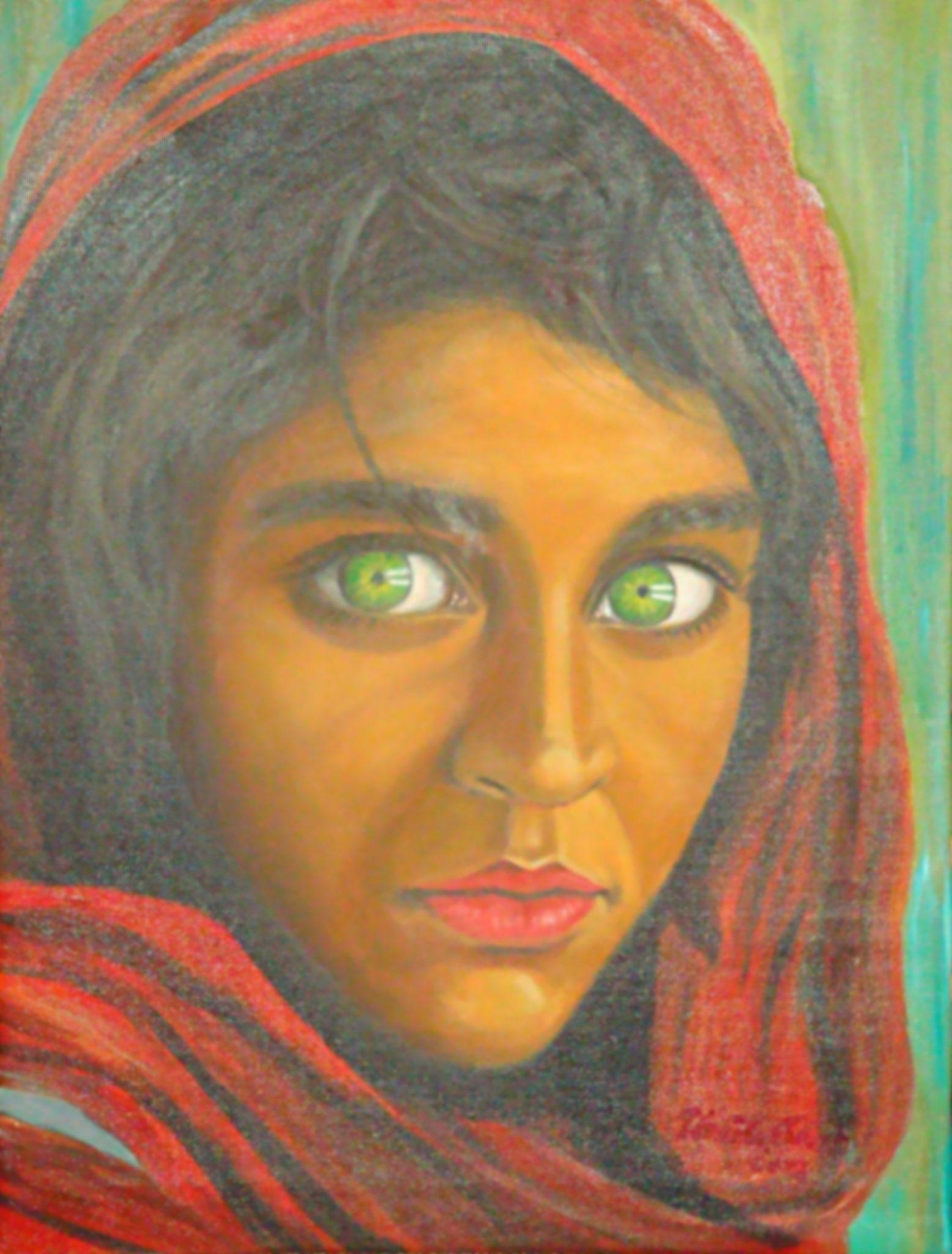 Flüchtlingsmädchen  Sharbat Gula aus Afghanistan    (Technik: Öl         Leinwand: 70 X 50 cm)