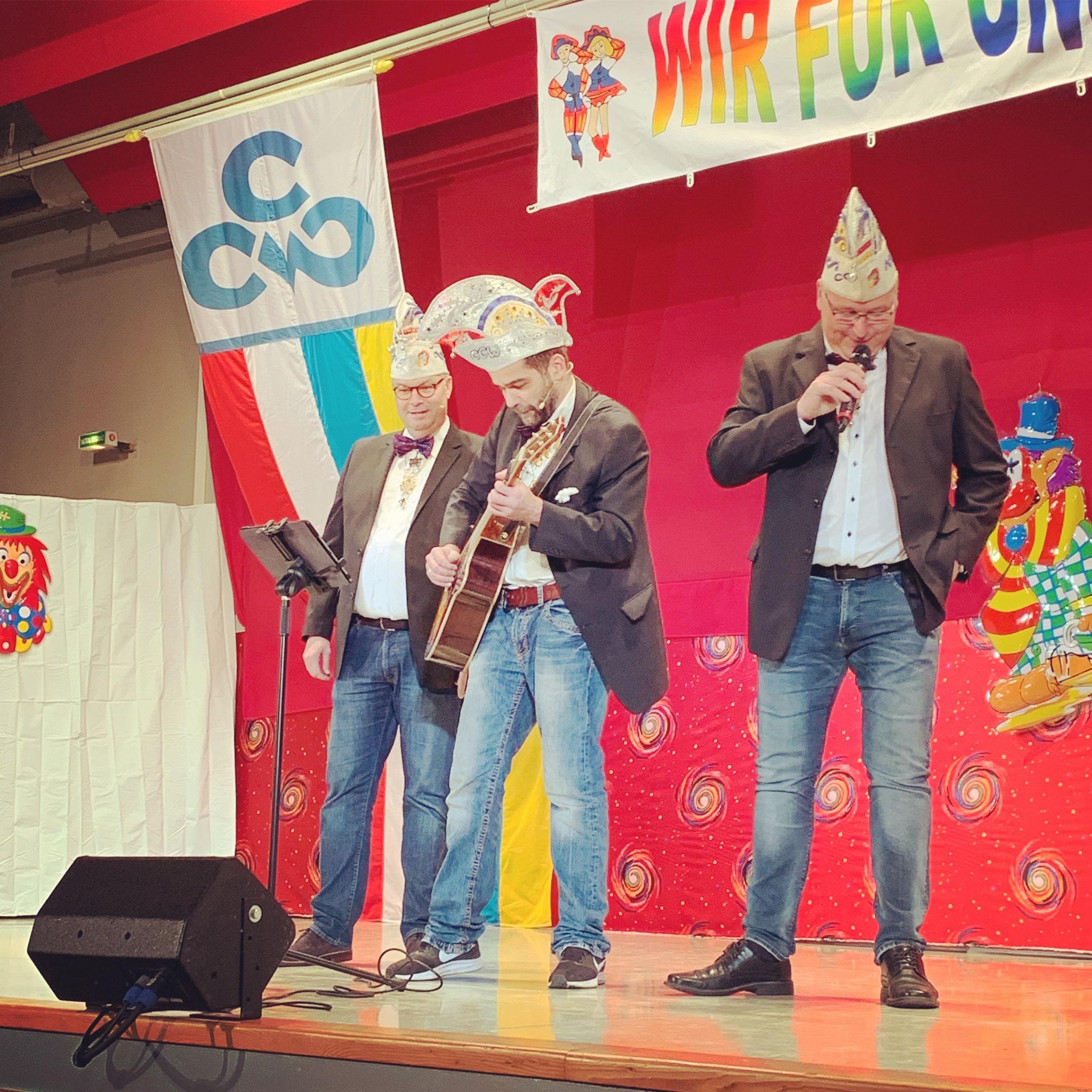 Die Talentfreien- Sitzungspräsident Steffen Feldmann, Mic Reith und Volker Eggeling
