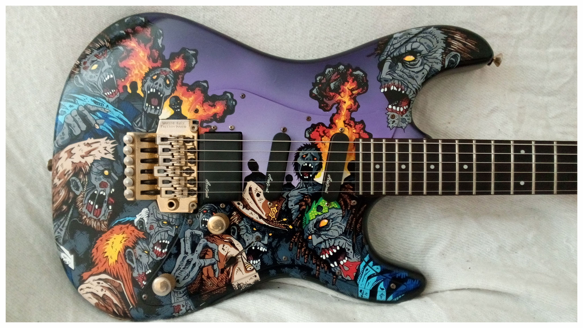 "Customisation guitare thème ""Walking dead"""