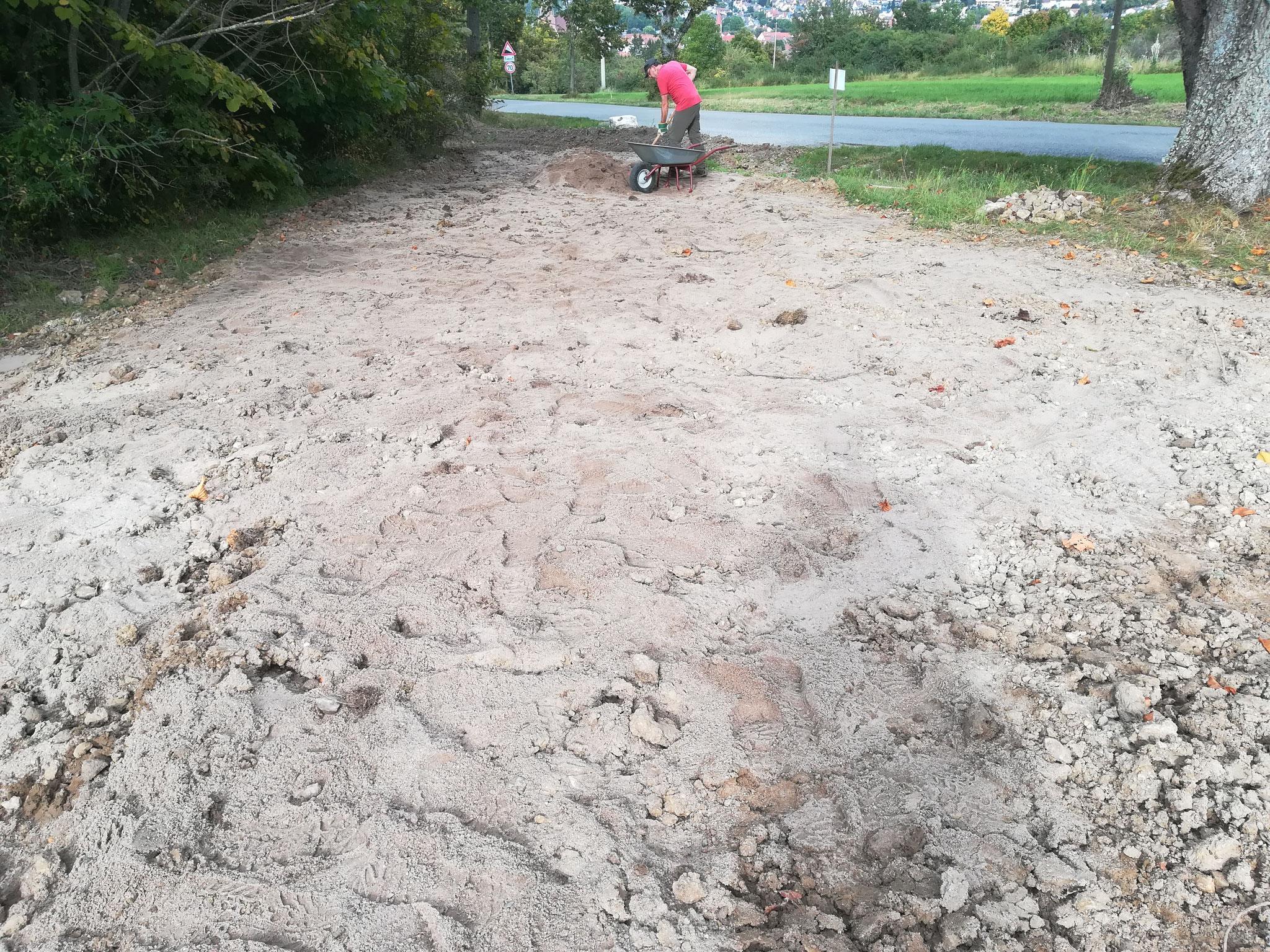 Abmagern mit Sand von Hand
