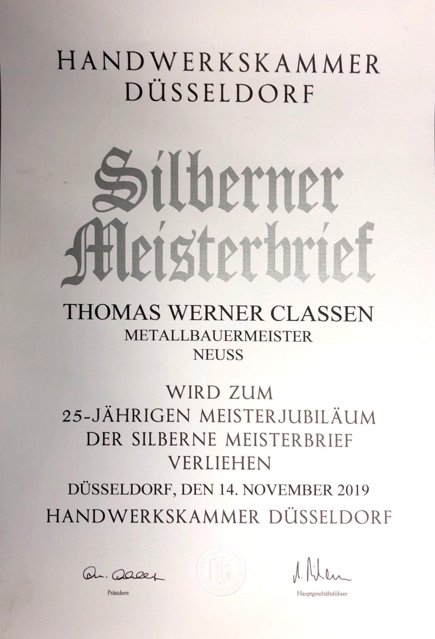 Silberne Meisterbrief Thomas Classen