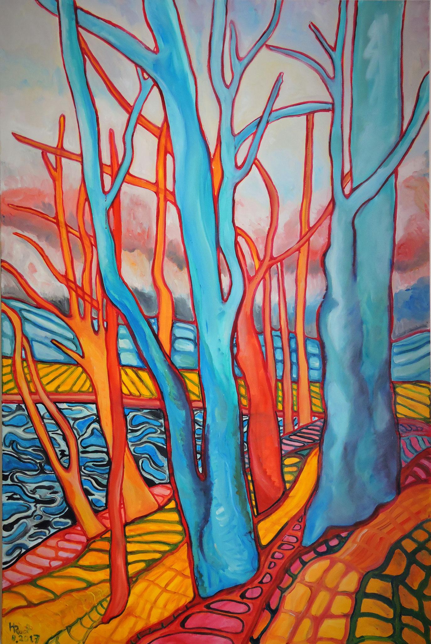 """""""Bäume 6"""", Öl auf Leinwand, 150 x 100 cm, 2017"""