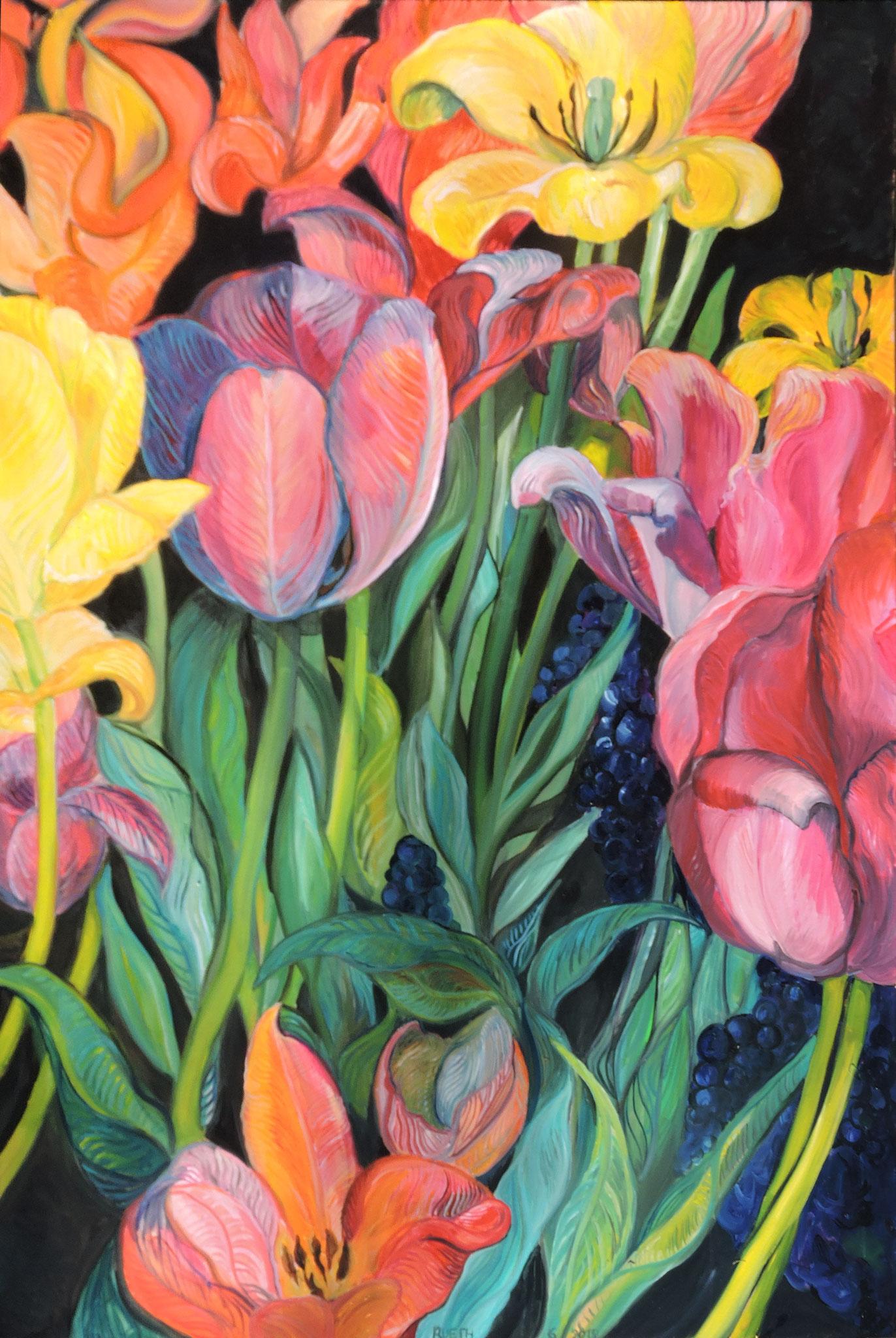 """tulips garden"", 100x150cm, oil on canvas, 2018."