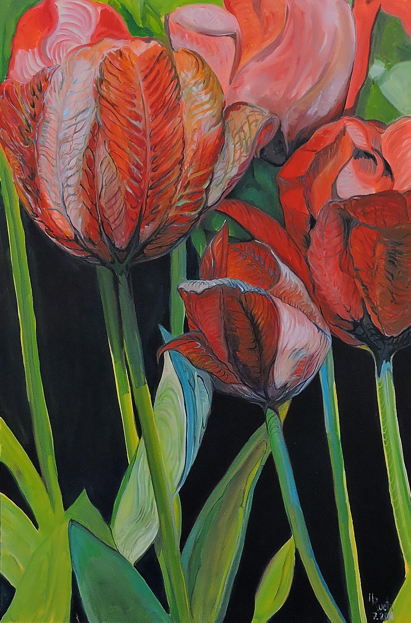 """Tulpen im Wind"", 100x150 cm, Öl auf Leinwand, 2018....................1850,- Euro"