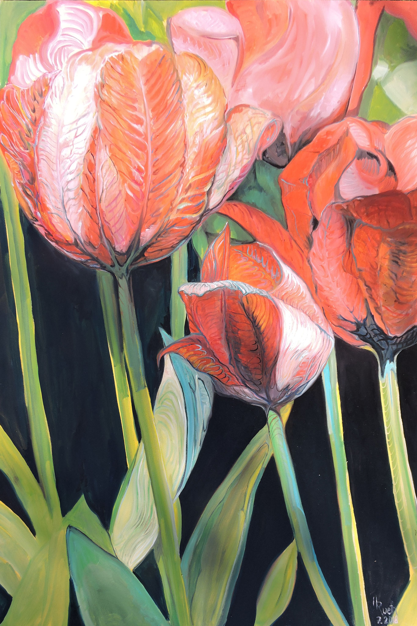 """tulips in the wind"", 100x150cm, oil on canvas, 2018."