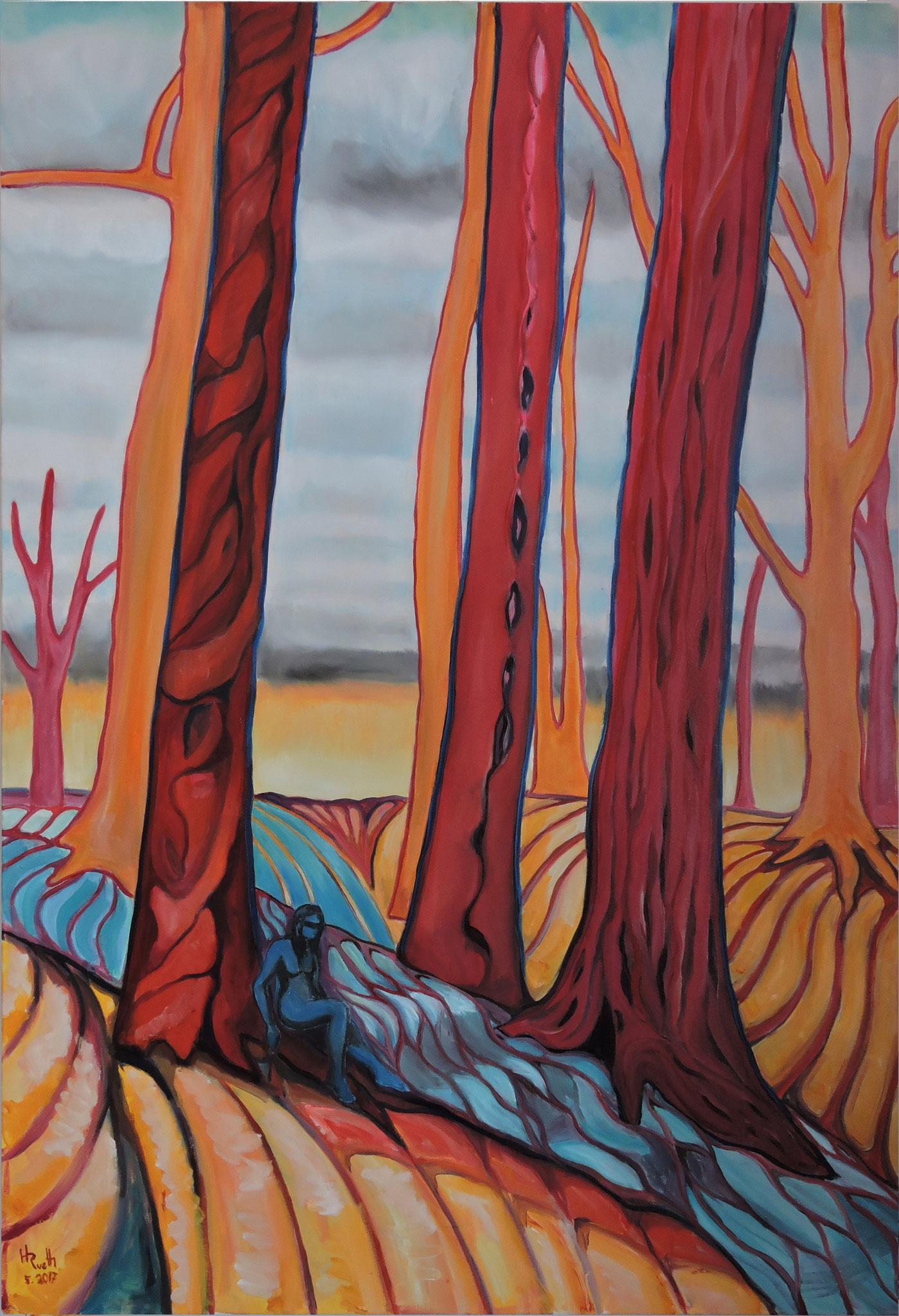 """""""Bäume 5"""", Öl auf Leinwand, 150 x 100 cm, 2017"""