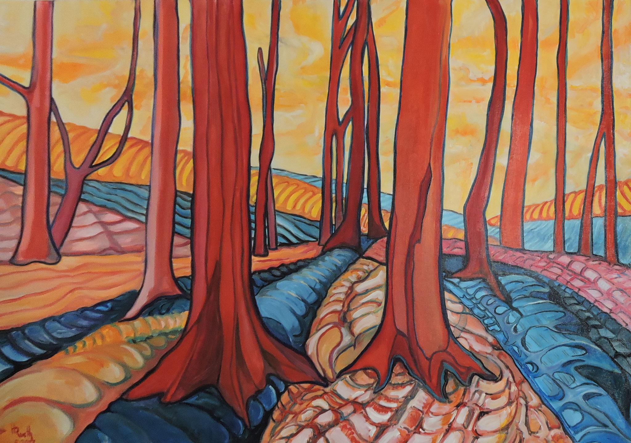 """""""Bäume 3"""", Öl auf Leinwand, 150 x 100 cm, 2017"""