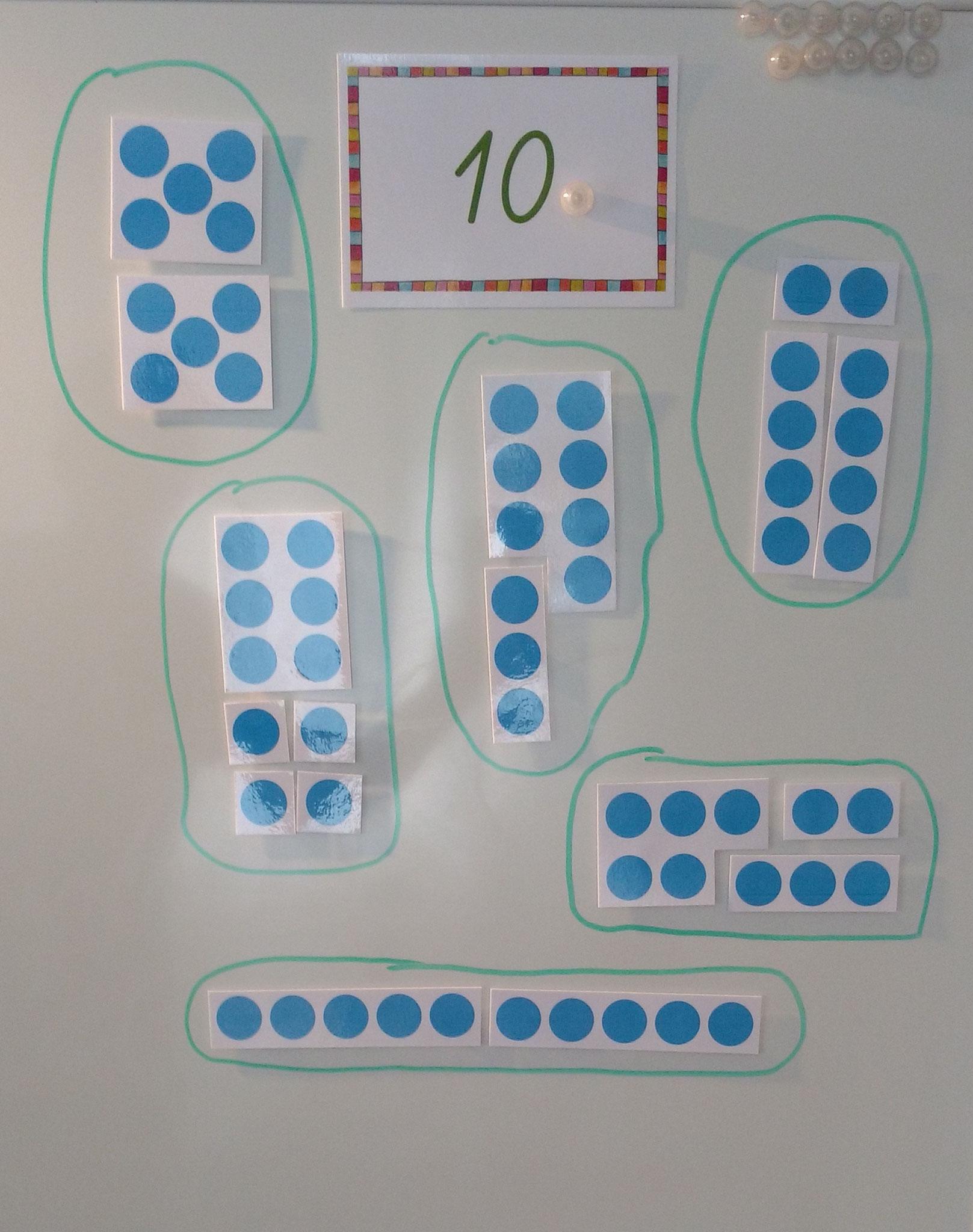 An der magnetischen Wandtafel können auch motorisch unruhige Kinder die Zahlzerlegung und das Teil-Ganze-Verständnis üben.