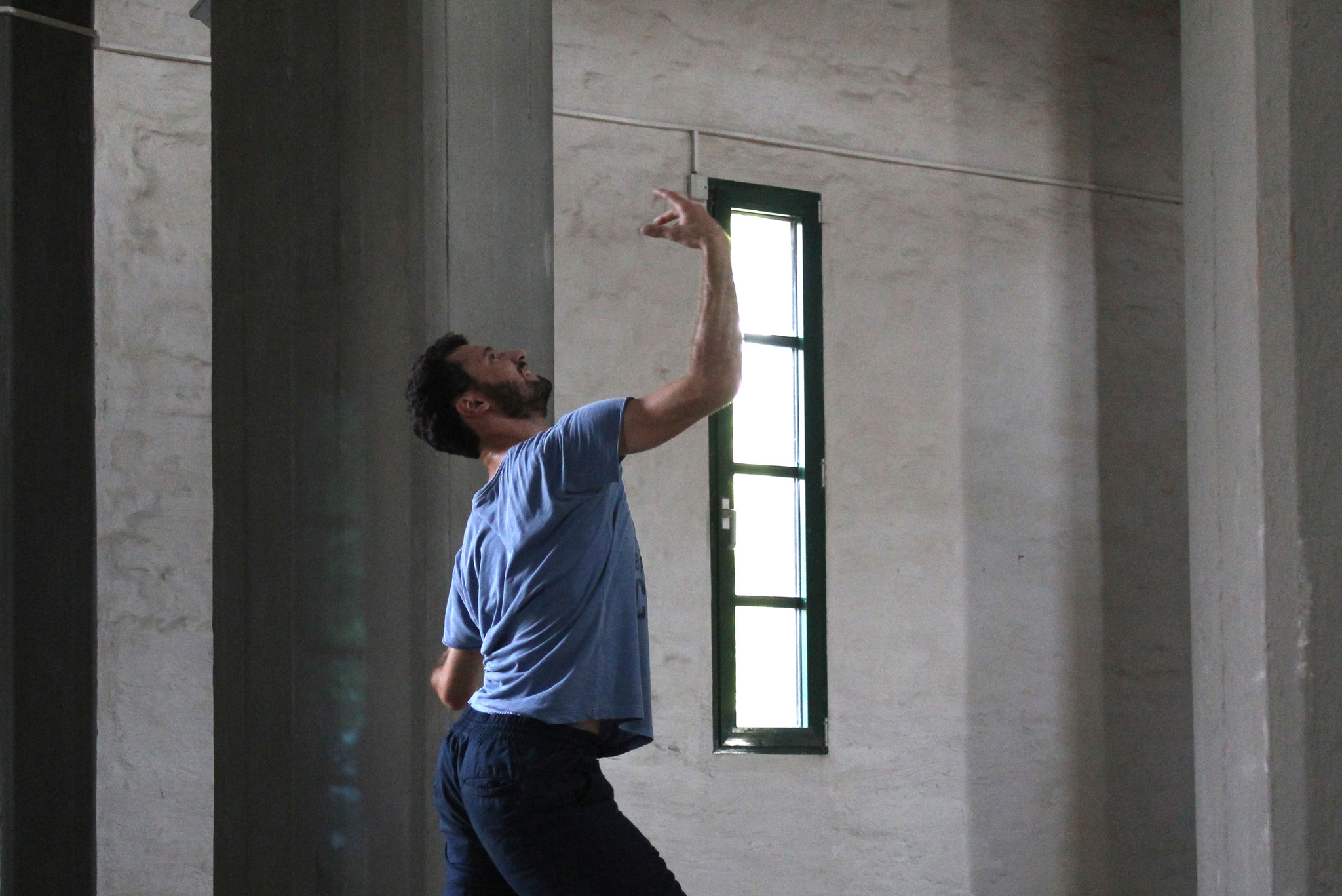 Probenschnappschuss Isaac Araujo im Wasserturm Süd (Foto: Stephanie Därr)