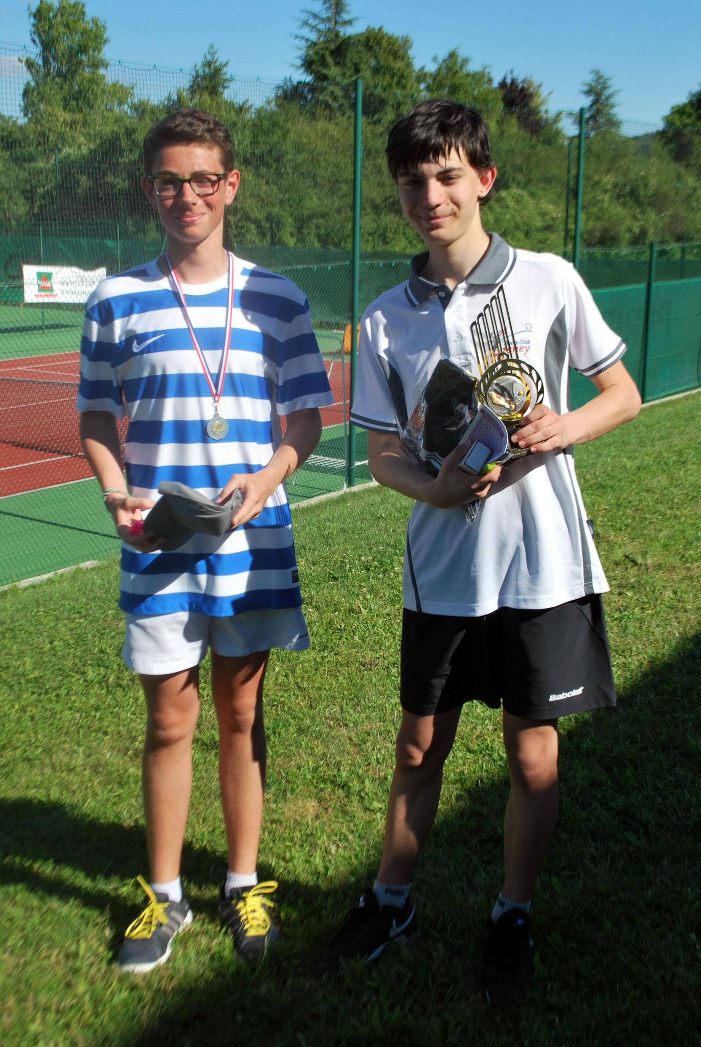 Nicolas TANNER (finaliste) et Antonin GRISEZ (vainqueur en 15/16 ans garçons)