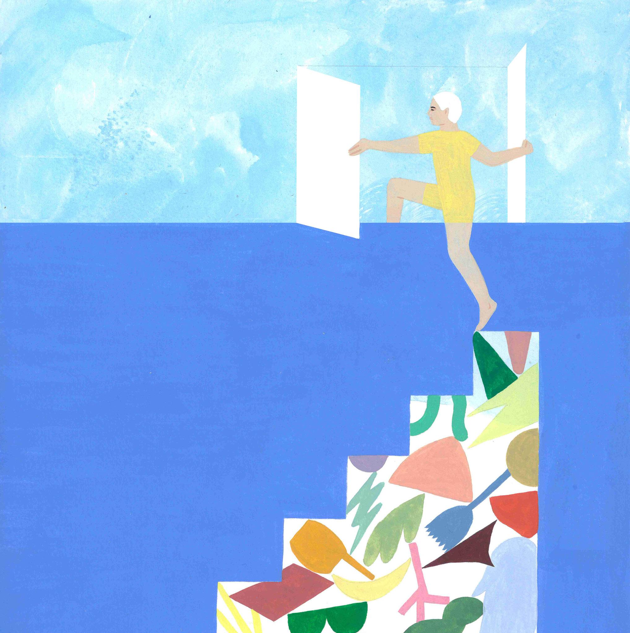 Mathilde Rives, série L'horizon de la ligne, 2020. Gouche sur papier, 21 x 29,7 cm (détail).