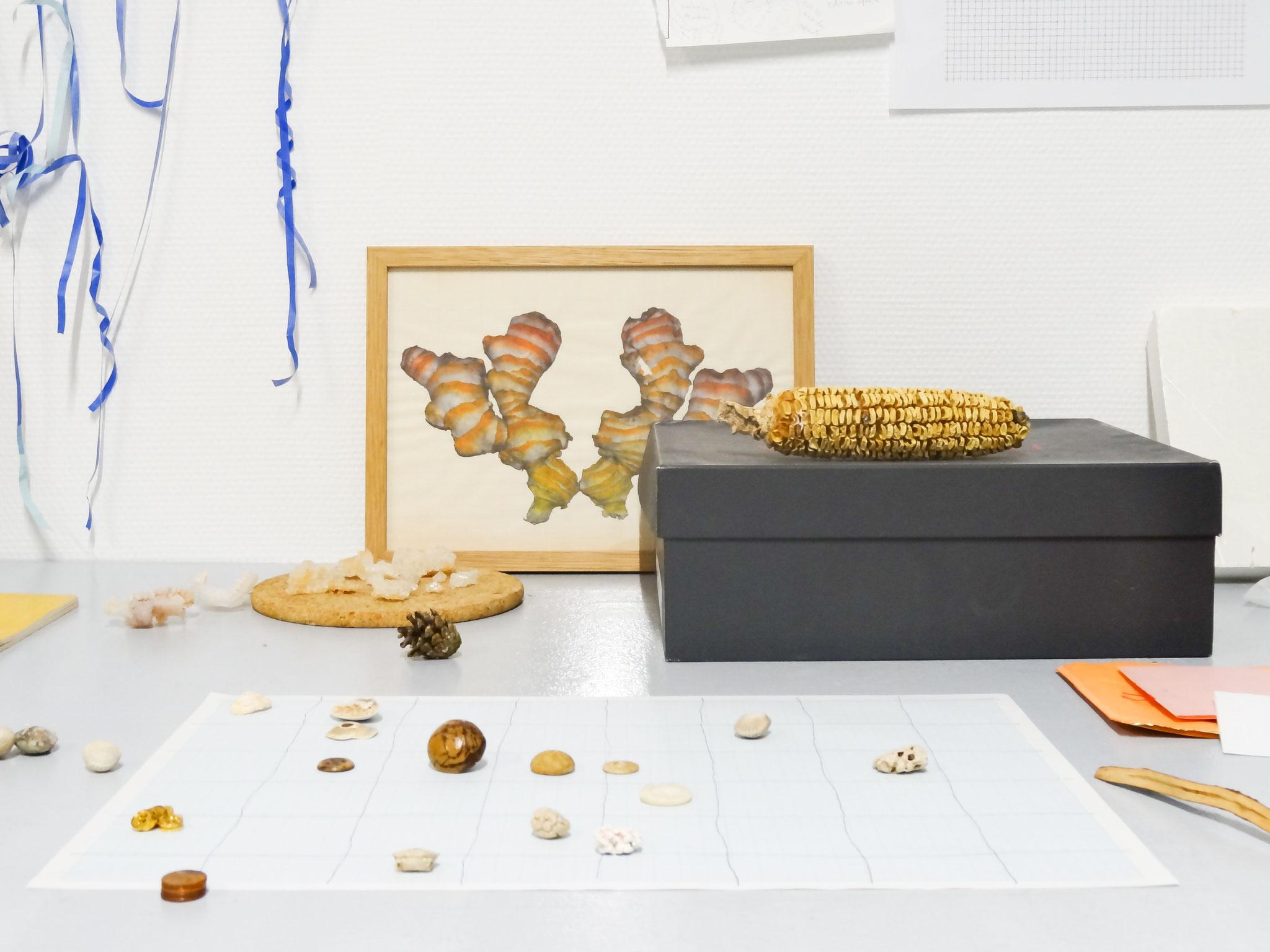Rika Tanaka, Vue de l'atelier de L'aparté, travail en cours, 2018.