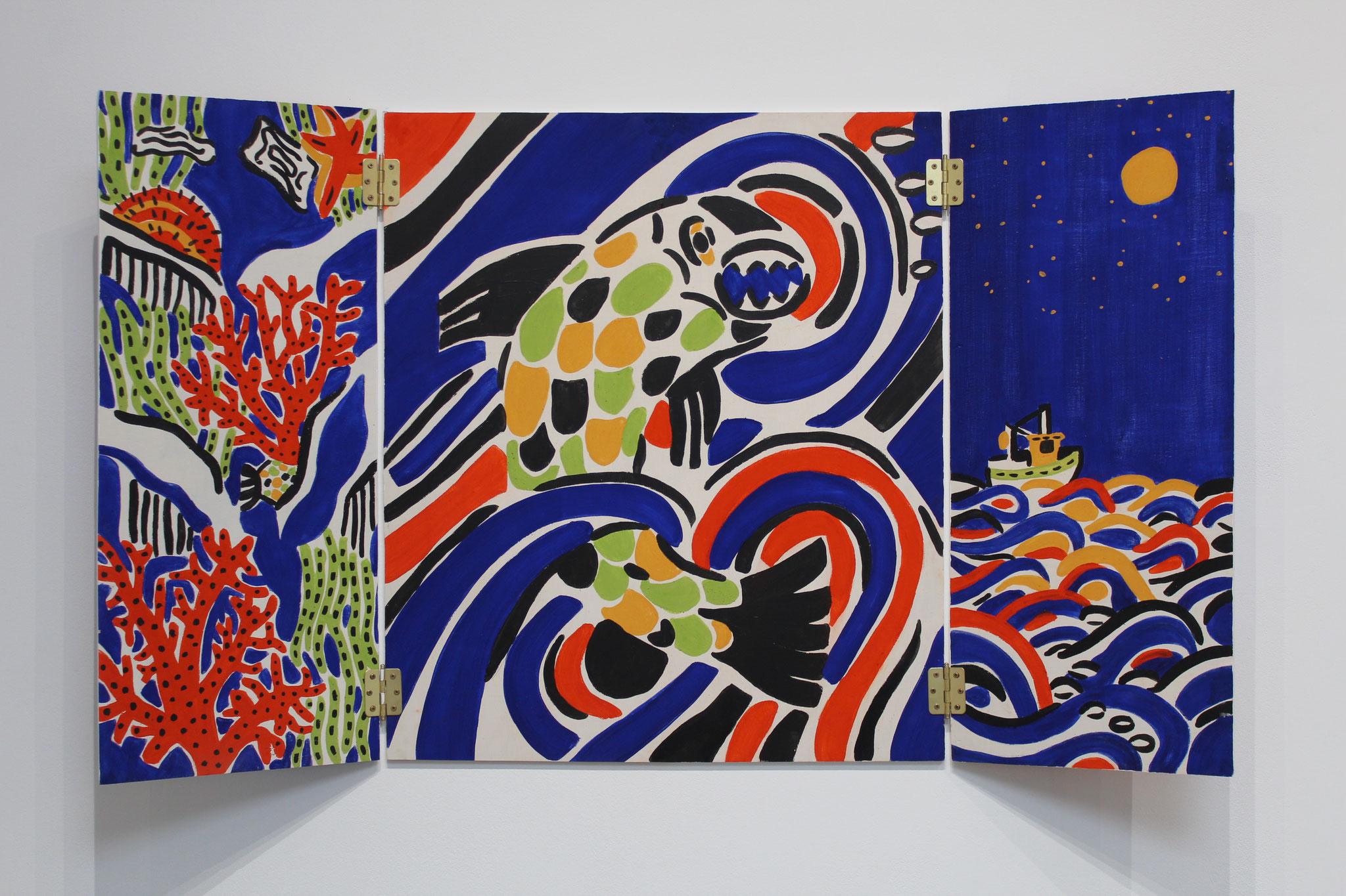 Métamorphose II : Potre Penn er lô, peinture naturelle sur bois, 120 x 70 cm ouvert, 60 x 70 fermé