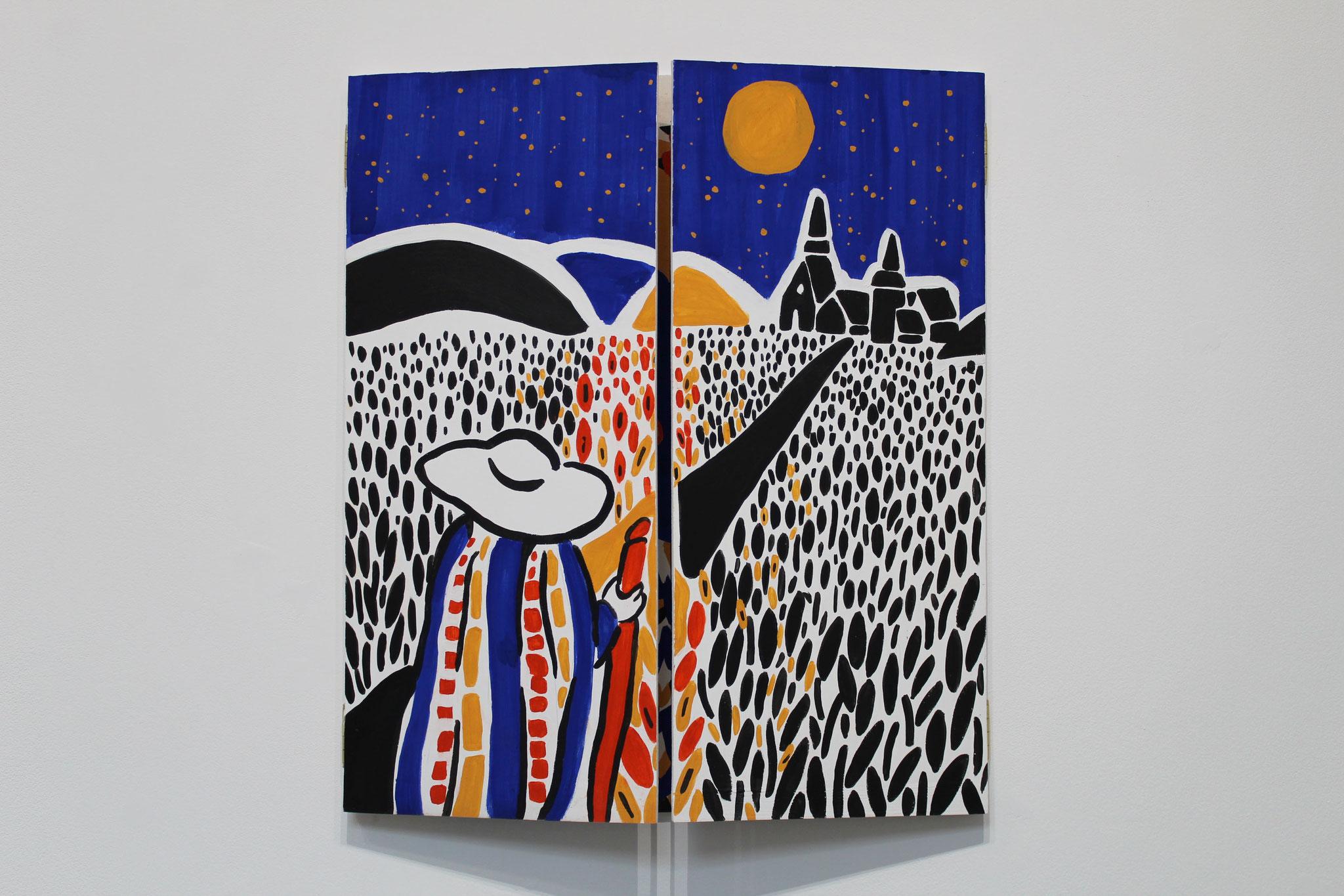 Métamorphose I : Bugel-nôz, peinture naturelle sur bois, 120 x 70 cm ouvert, 60 x 70 fermé