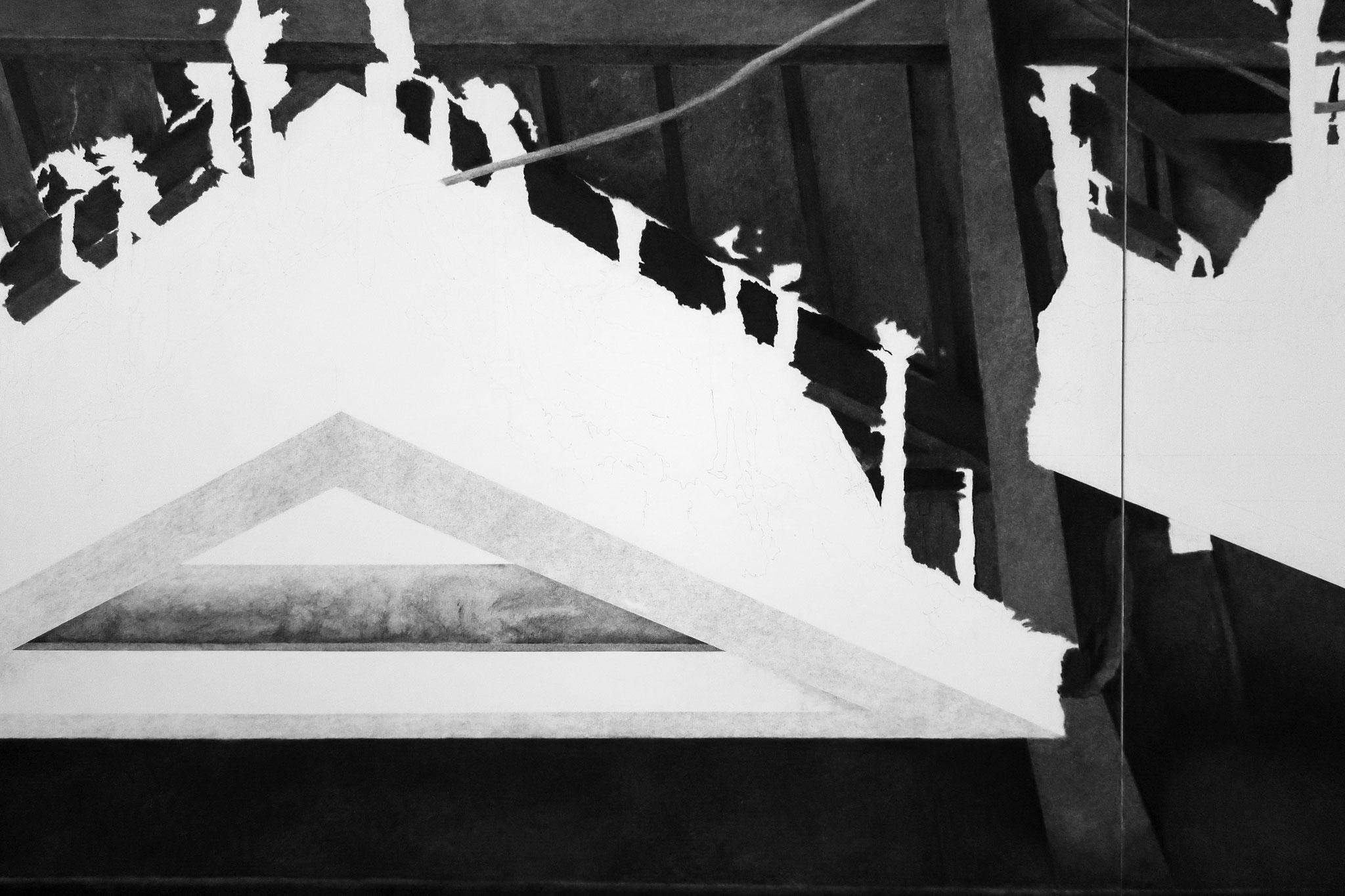 Julie Bonnaud et Fabien Leplae, détail dessin en cours, fusain, pierre noire et graphite, 2018