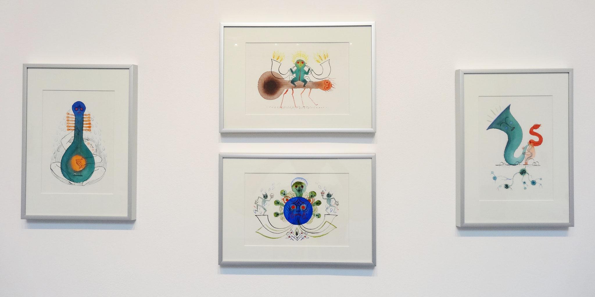 Karine Bernadou, aquarelles sur papier Arches 300 gr., 14,8 x 21 cm, 2016. En haut : La chevauchée ardente. En bas : Tristesse royale. A gauche : L'amoureux transi. A droite : Traversée.