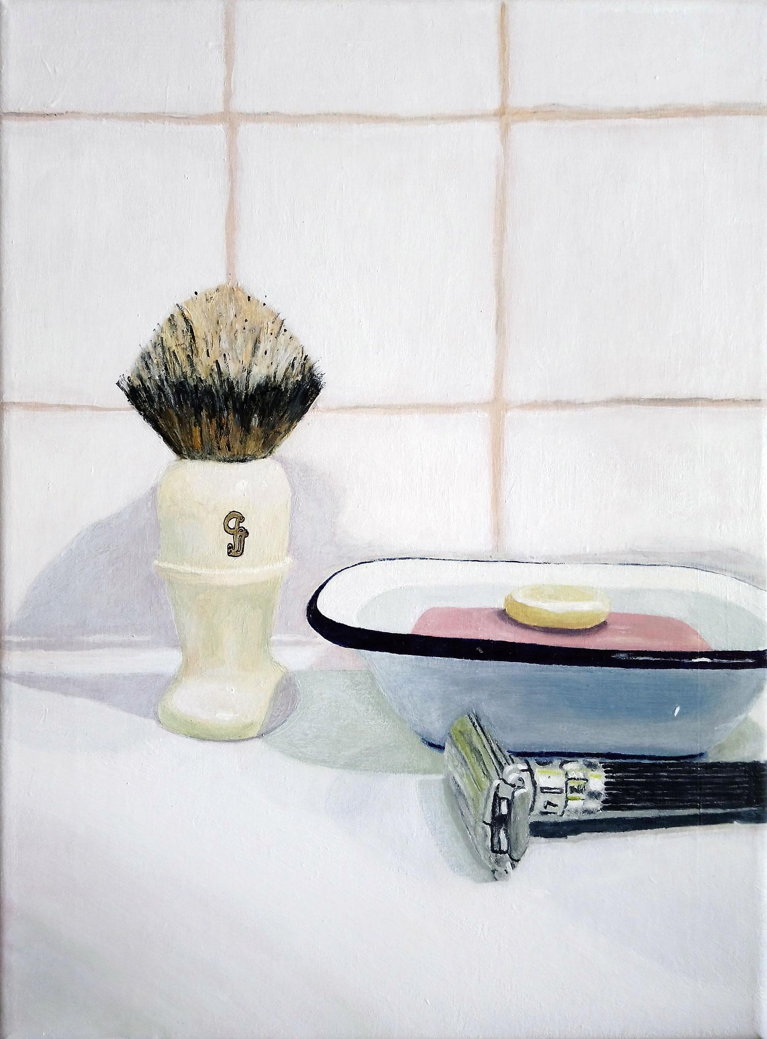 Fabien Gilles, la toilette, acrylique sur toile, 30 cm x 40 cm, Fonds d'art contemporain de la Ville de Rennes.