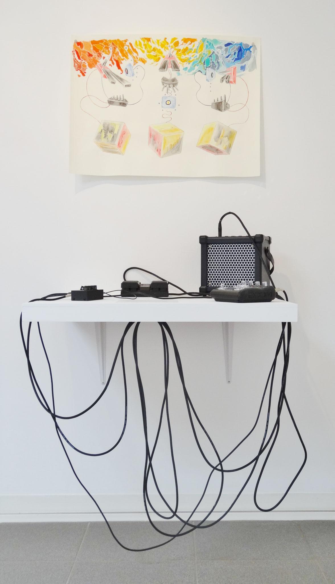 Noël Rasendrason, In-stall / D-stall / X-stall, 2016. Encre et aquarelle sur papier Artistico Fabriano 200 gr., 56 × 72 cm.