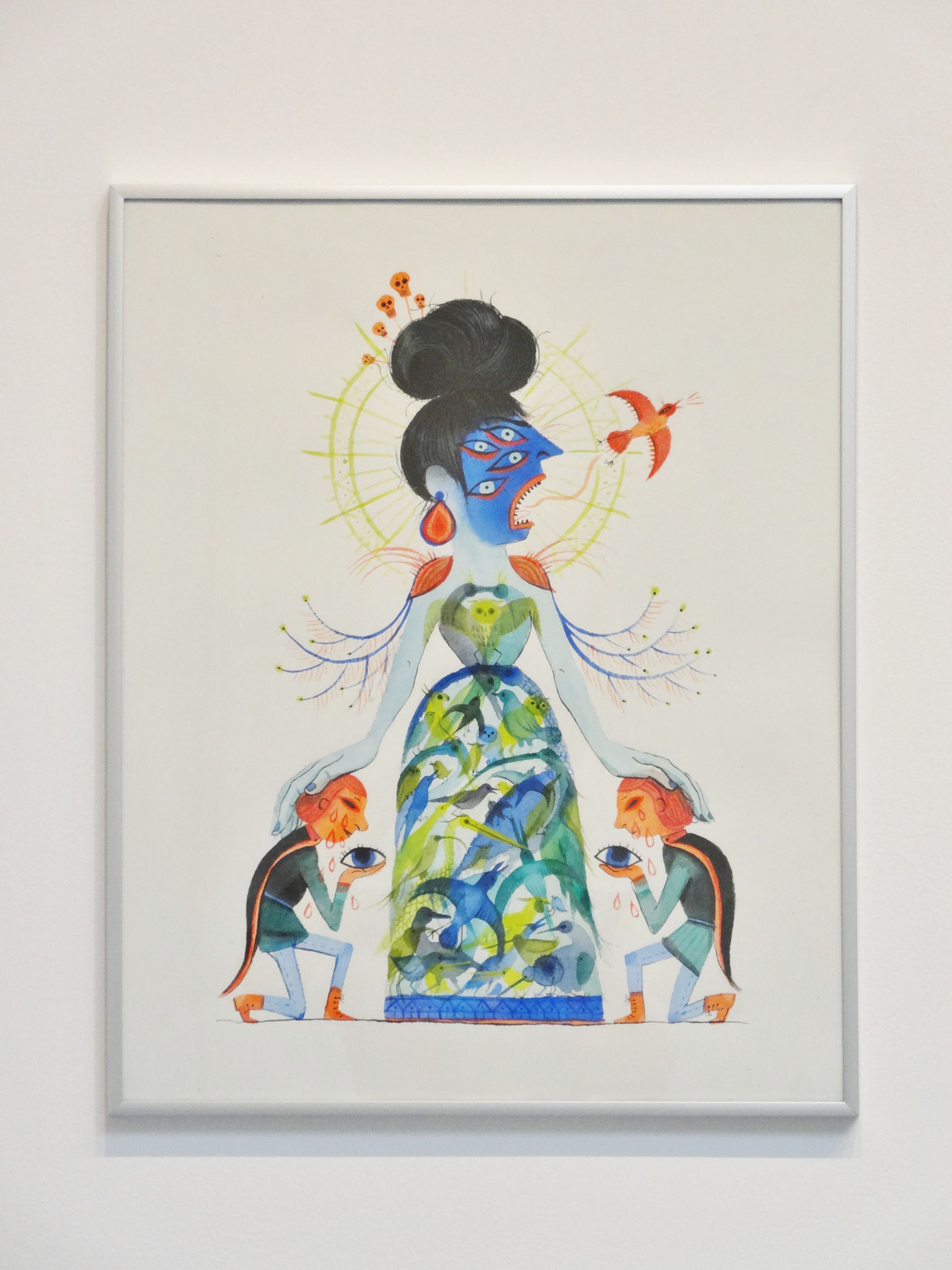 Karine Bernadou, Le chant aux mille oiseaux, 2016. Aquarelle sur papier Arches 300 gr., 40 x 50 cm.