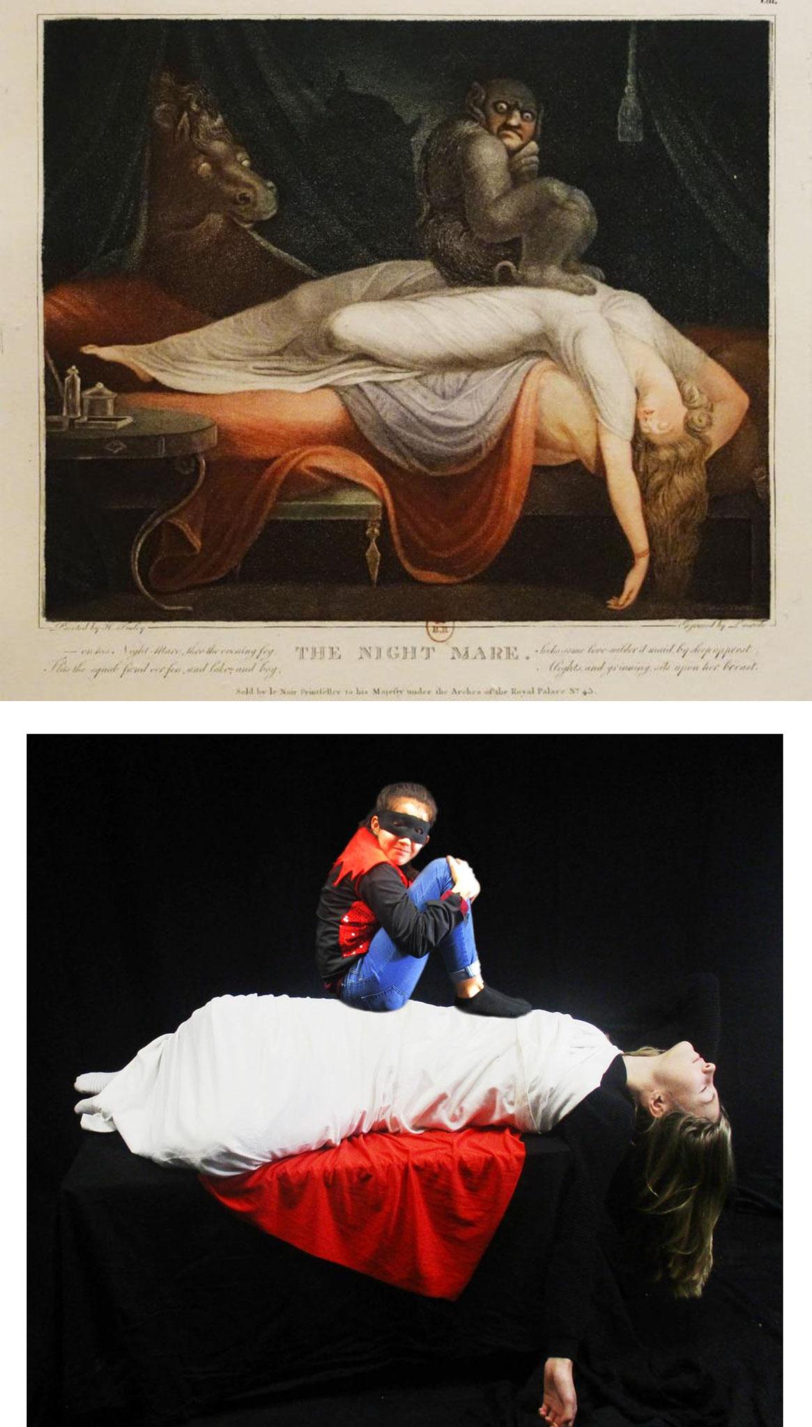 """Mise en scène inspirée d'un tableau du peintre Johann Heinrich Füssli, """"Le Cauchemar"""", 1781."""