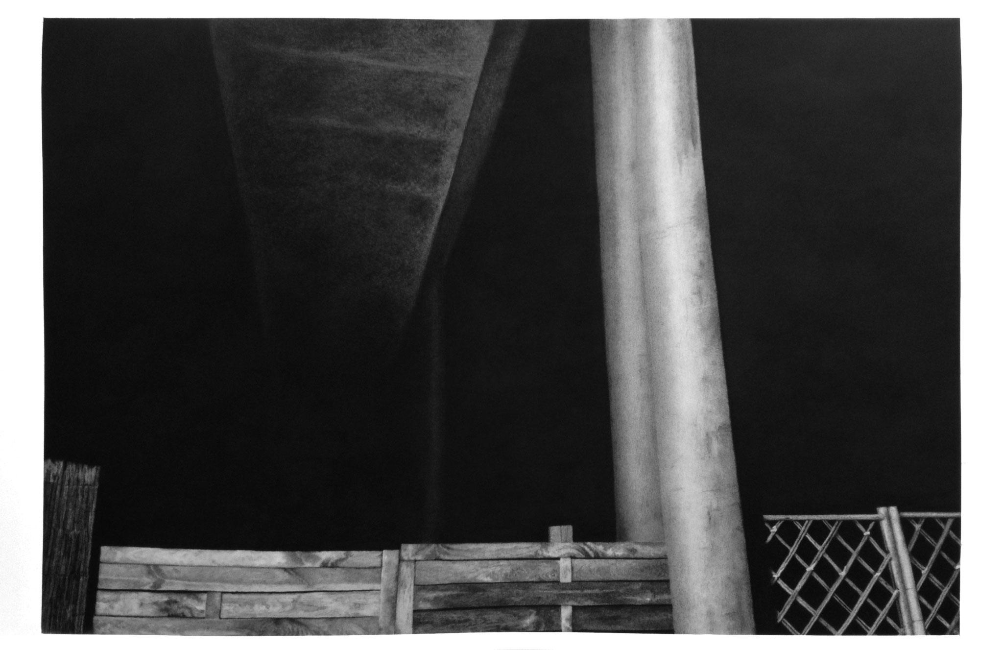 Julie Bonnaud et Fabien Leplae, #Beyond #Ater mat #In : la face perdue fusain, pierre noire et mine graphite sur papier, 136 x 85,5 cm, 2018