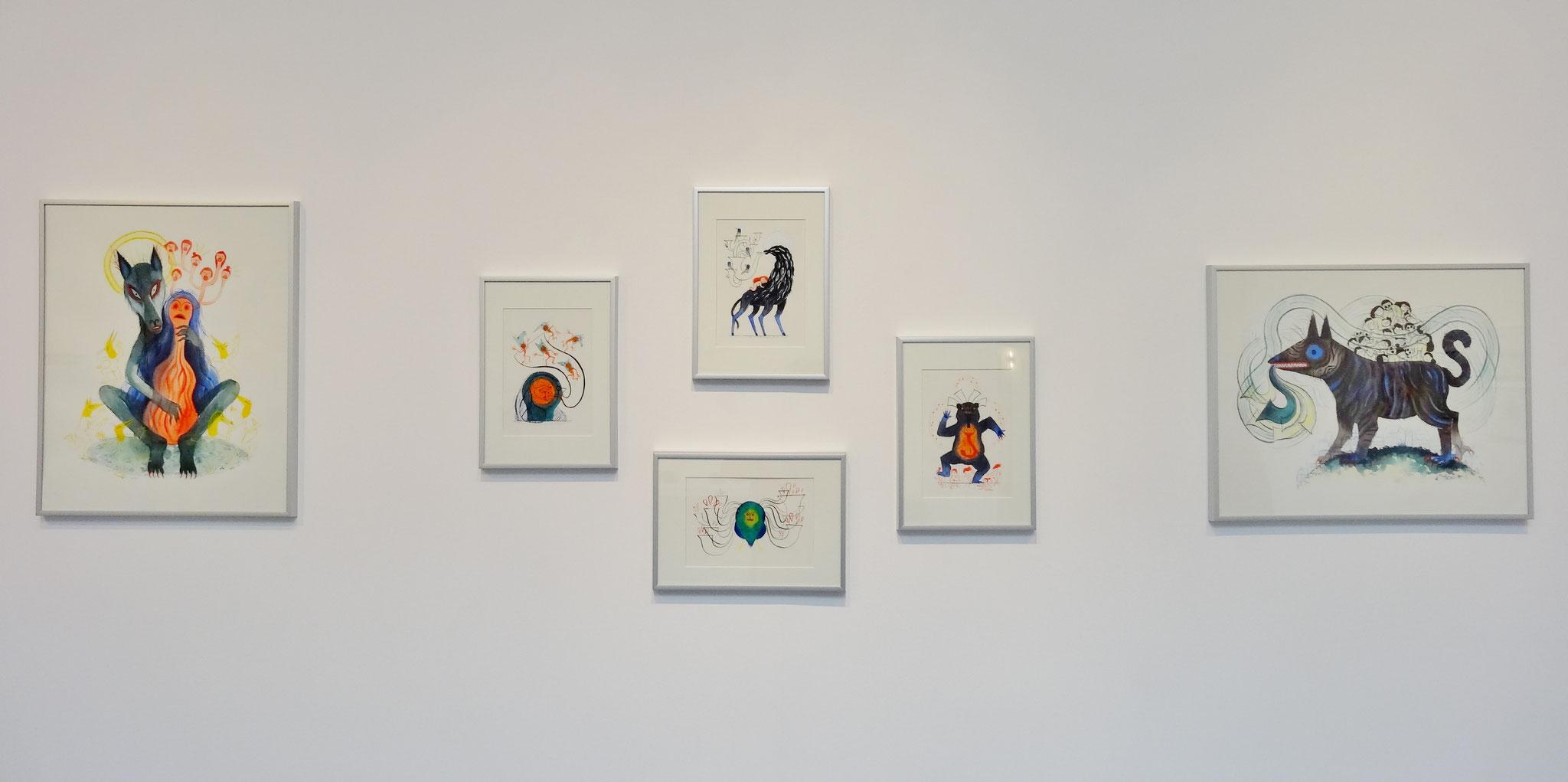 Karine Bernadou, aquarelles sur papier Arches 300 gr., 14,8 x 21 cm, 2016. En haut : Le mauvais cheval. En bas : La femme hibou. A gauche : Les petites voix. A droite : La danse de l'ours.