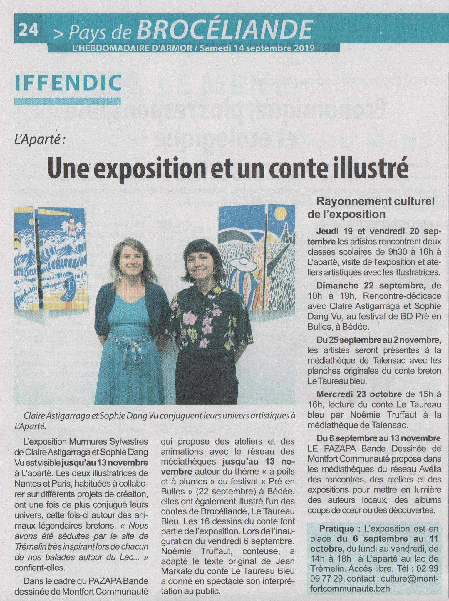 Article Hebdomadaire d'Armor du 14 septembre 2019