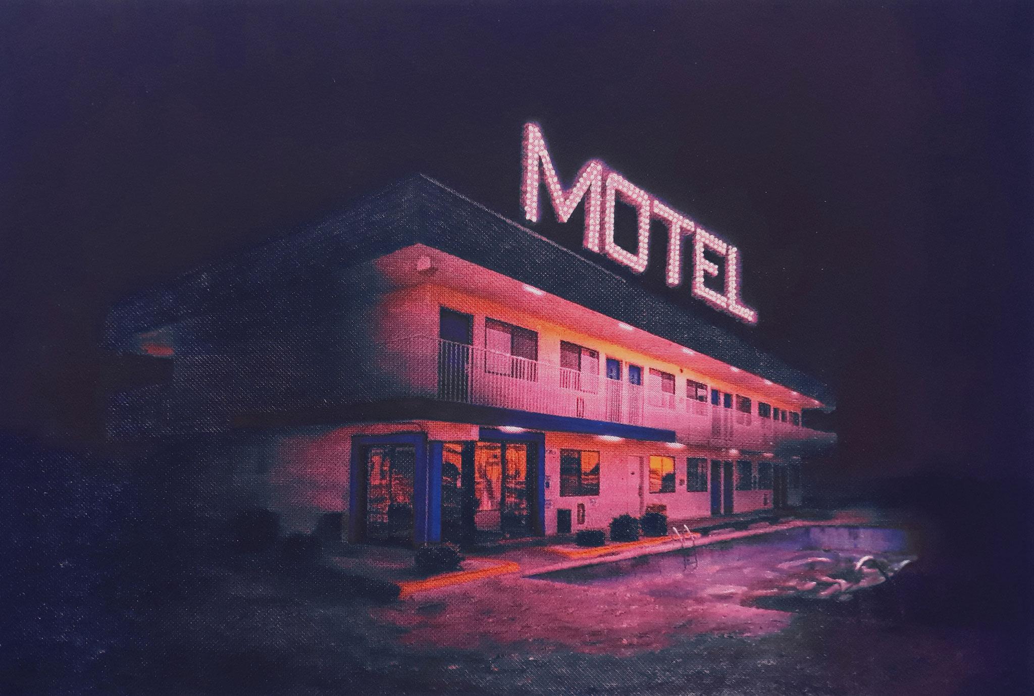 Julie Giraud, Motel 010, sérigraphie et peinture phosphorescente sur papier Rivoli, 50 x 35 cm, 2016