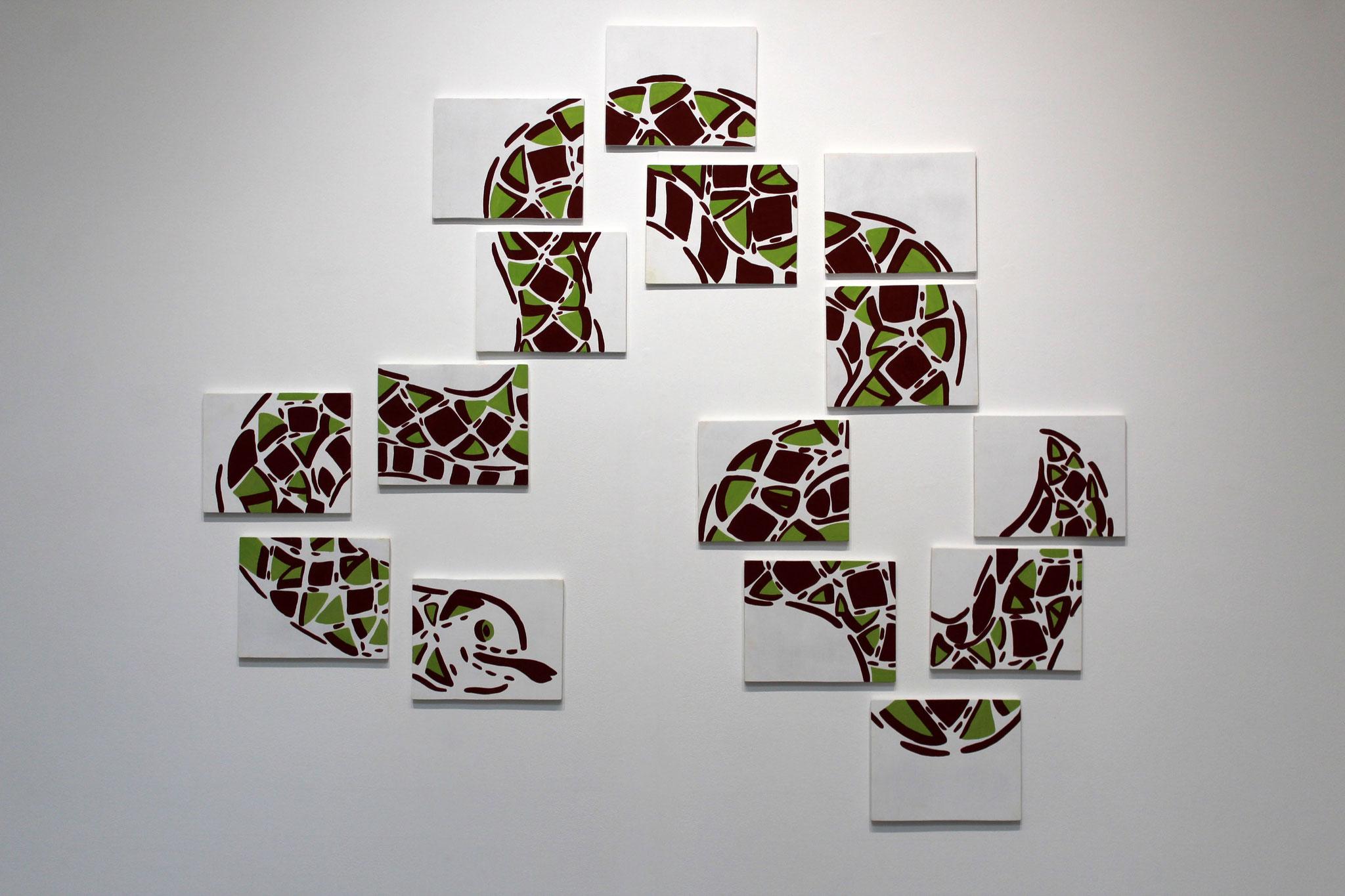 Le serpent ou le renouveau, peinture naturelle sur bois, 15 panneaux 25 x 20 cm
