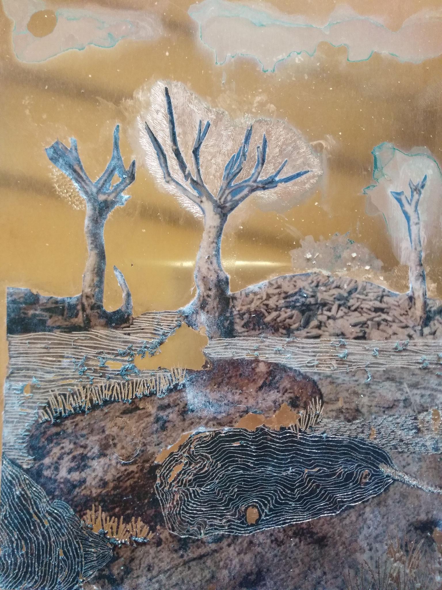Raphaëlle Peria, Epecuén, 2019. Techniques mixtes, 20 x 30 cm.
