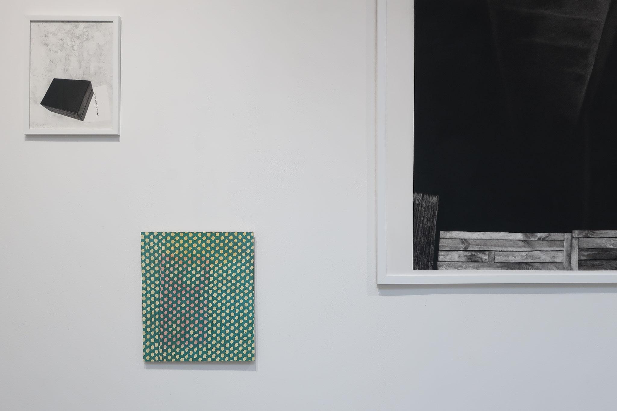 Serpents et échelles, Interstice, fusain et mine graphite sur papier, 27,5 x 35 cm, 2018 / Mue, L'âpreté d'un fruit vert, aquarelle et acrylique sur bois 31,5 x 36,5 cm, 2017