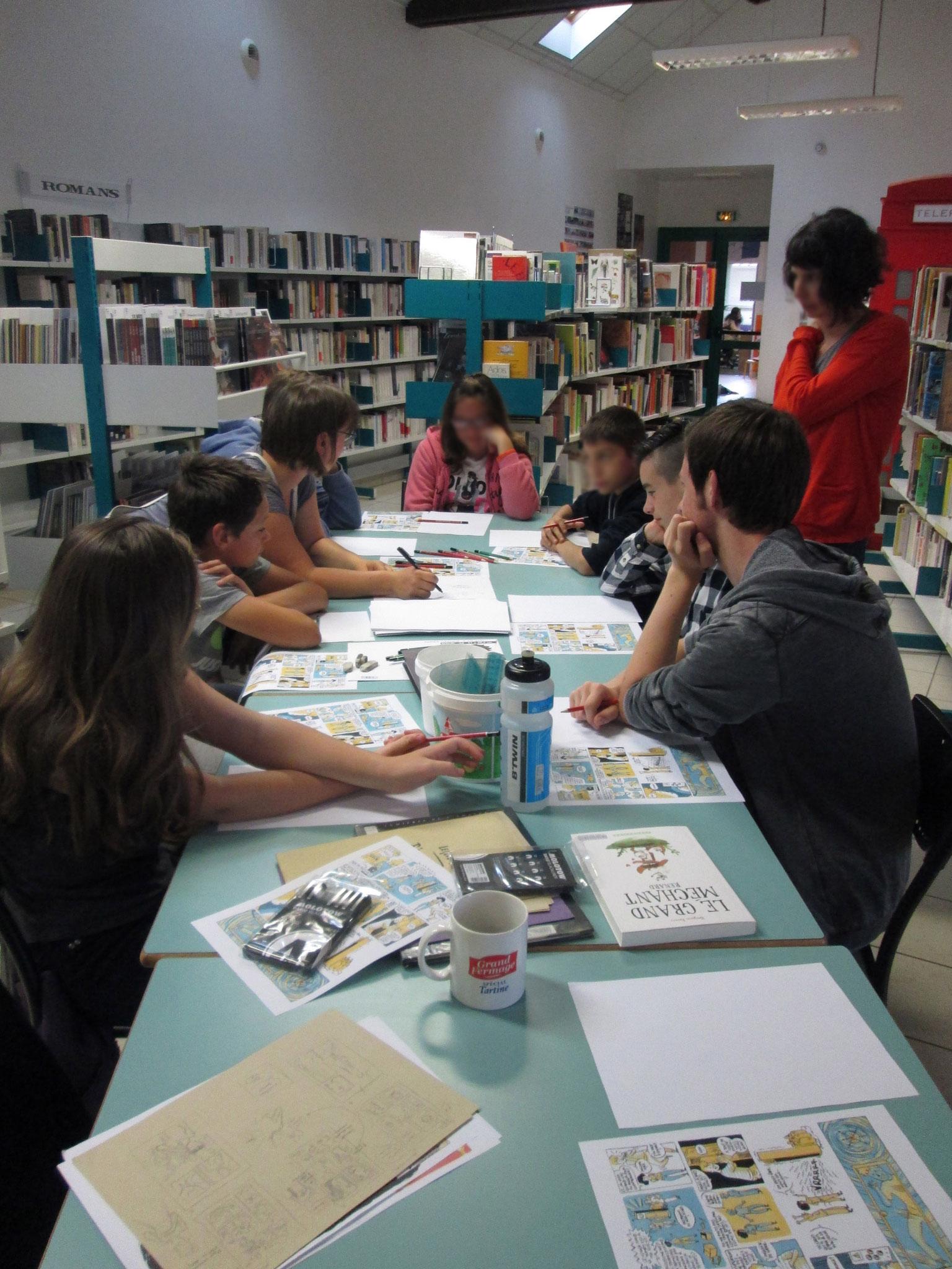 Atelier BD à la médiathèque de Talensac pour les 11-17 ans. Eté 2017