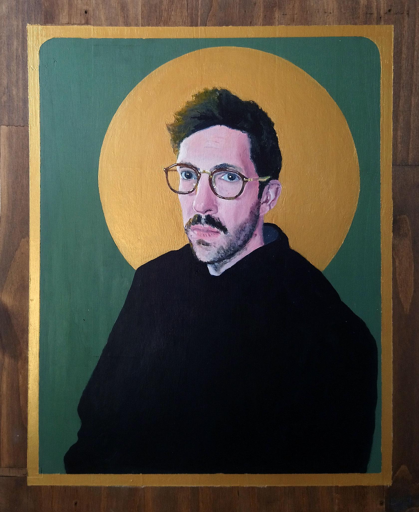 Fabien Gilles, Sacralité, 39,5 cm x 48 cm, acrylique sur bois, 2020.