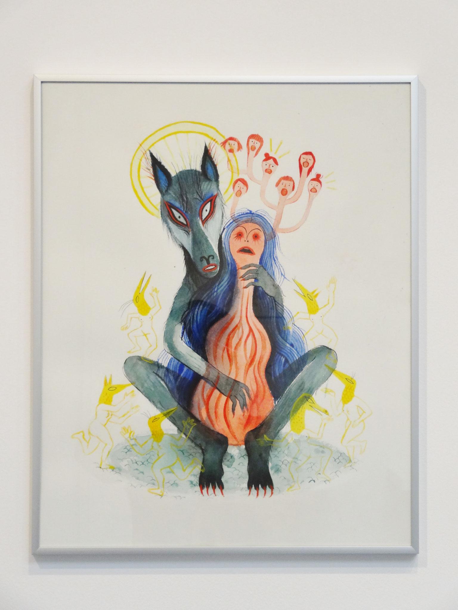 Karine Bernadou, Le joueur de femme, 2016. Aquarelle sur papier Arches 300 gr., 40 x 50 cm.
