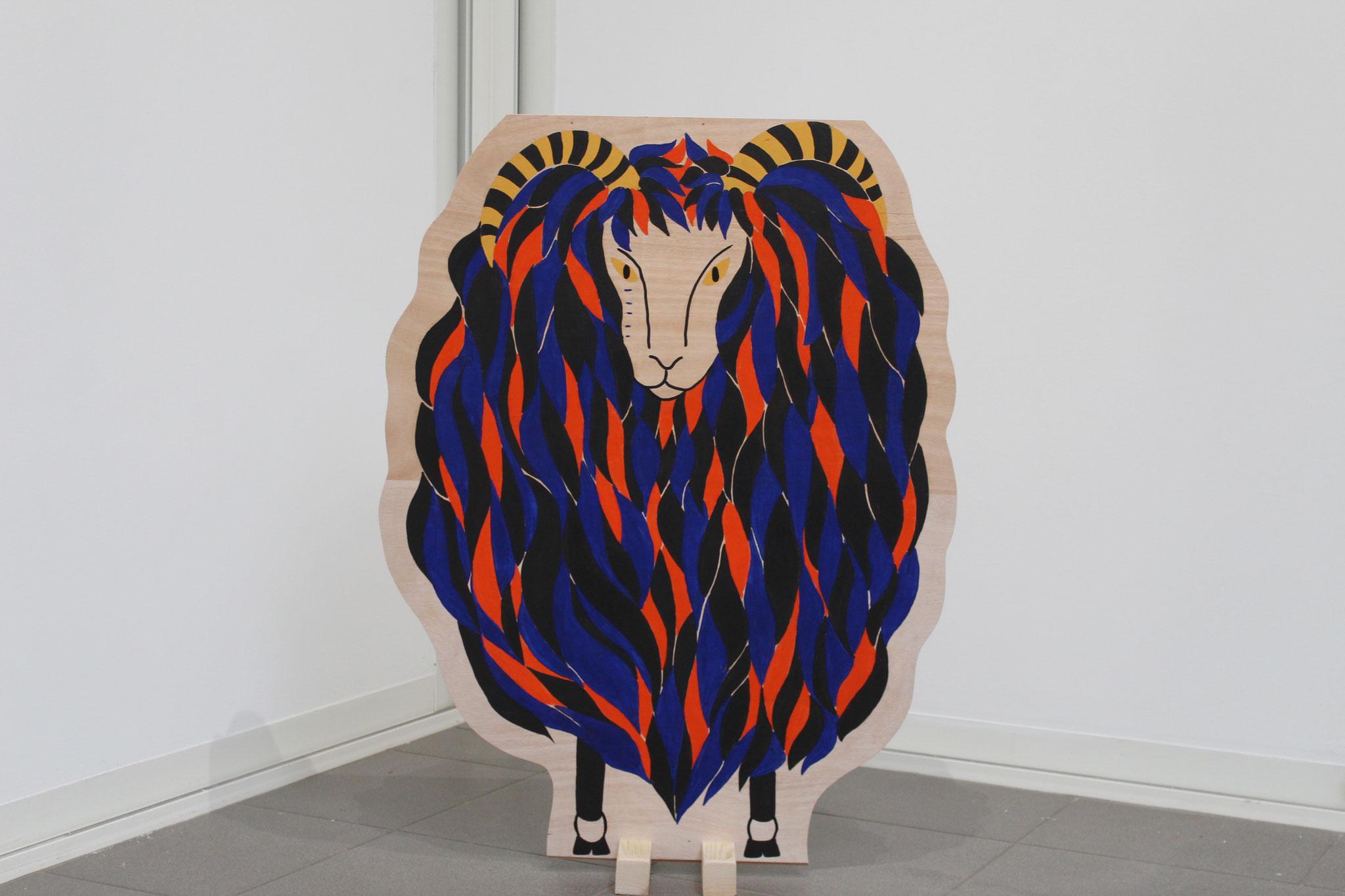 La Bête de Brielles, peinture naturelle sur bois, 101 x 77 cm