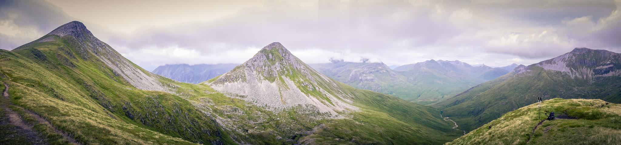 Blick vom Aufstieg zum Stob Coire a'Chaim (981m)