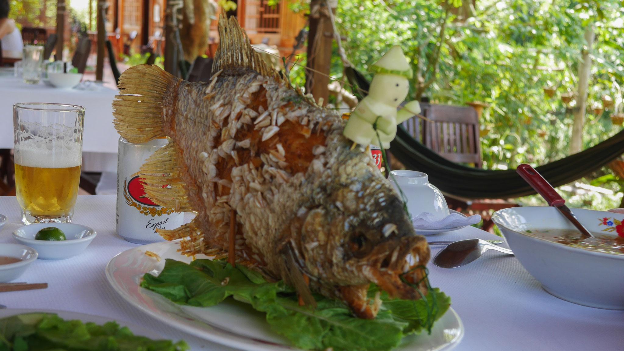 unterwegs im Mekong Delta - Mittagessen Elefantenohrenfisch