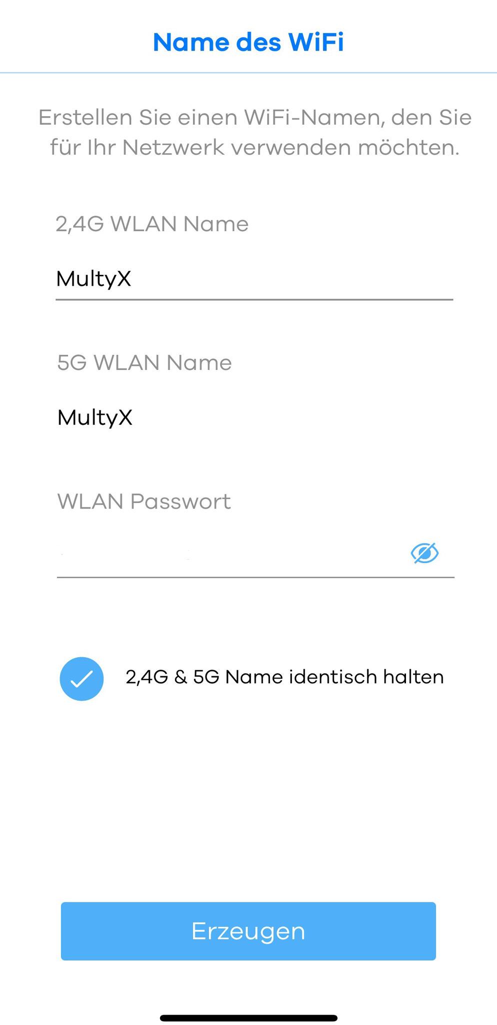 WLAN Namen und Passwort festlegen
