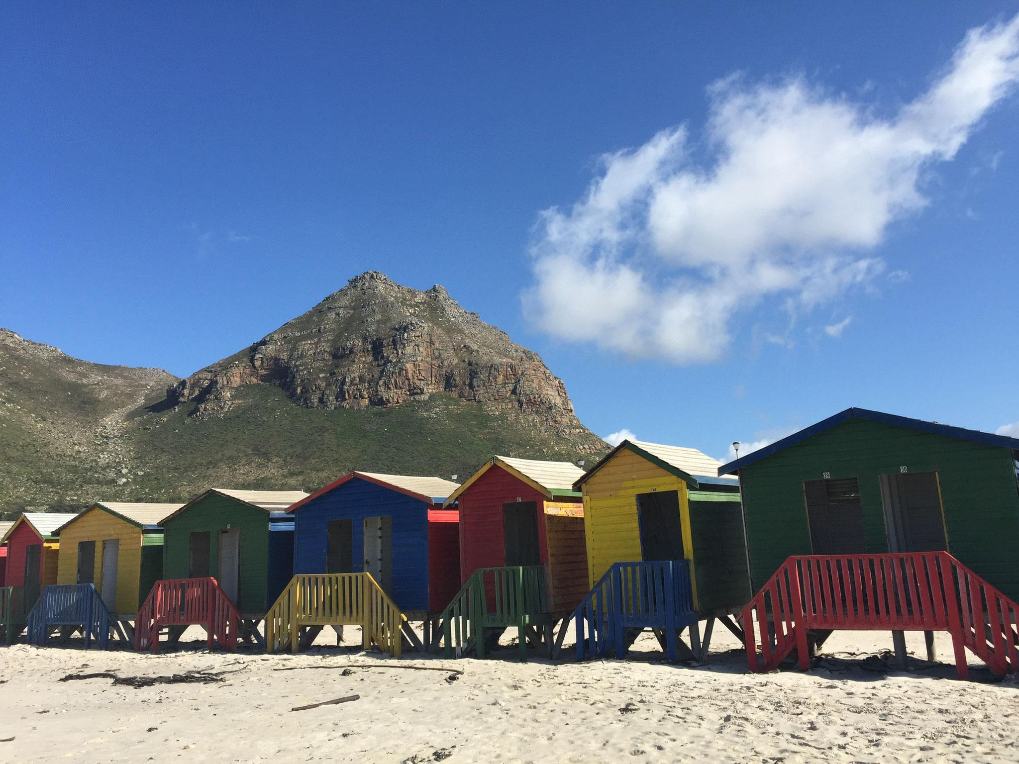 Die bunten Umkleidehäuschen am Strand von Muizenberg