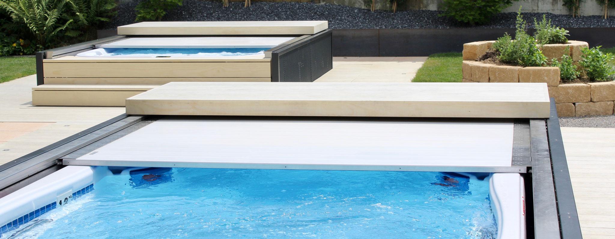 automatische Swim Spa und Whirlpool Abdeckung zu Teilversenkten Dimension One Pools