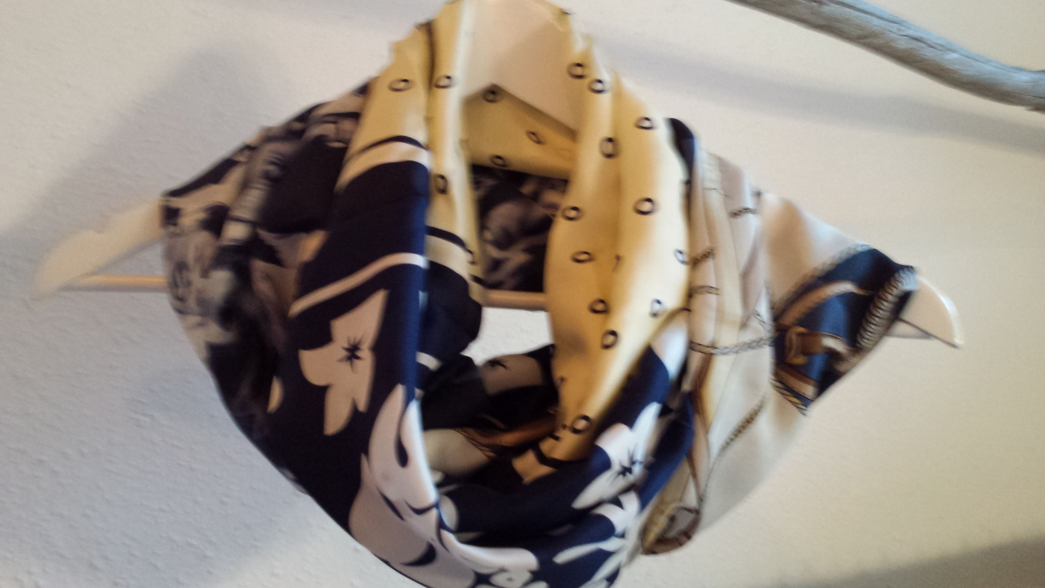 scarf from three silken pieces, sold, designed and made by Beate Gernhardt