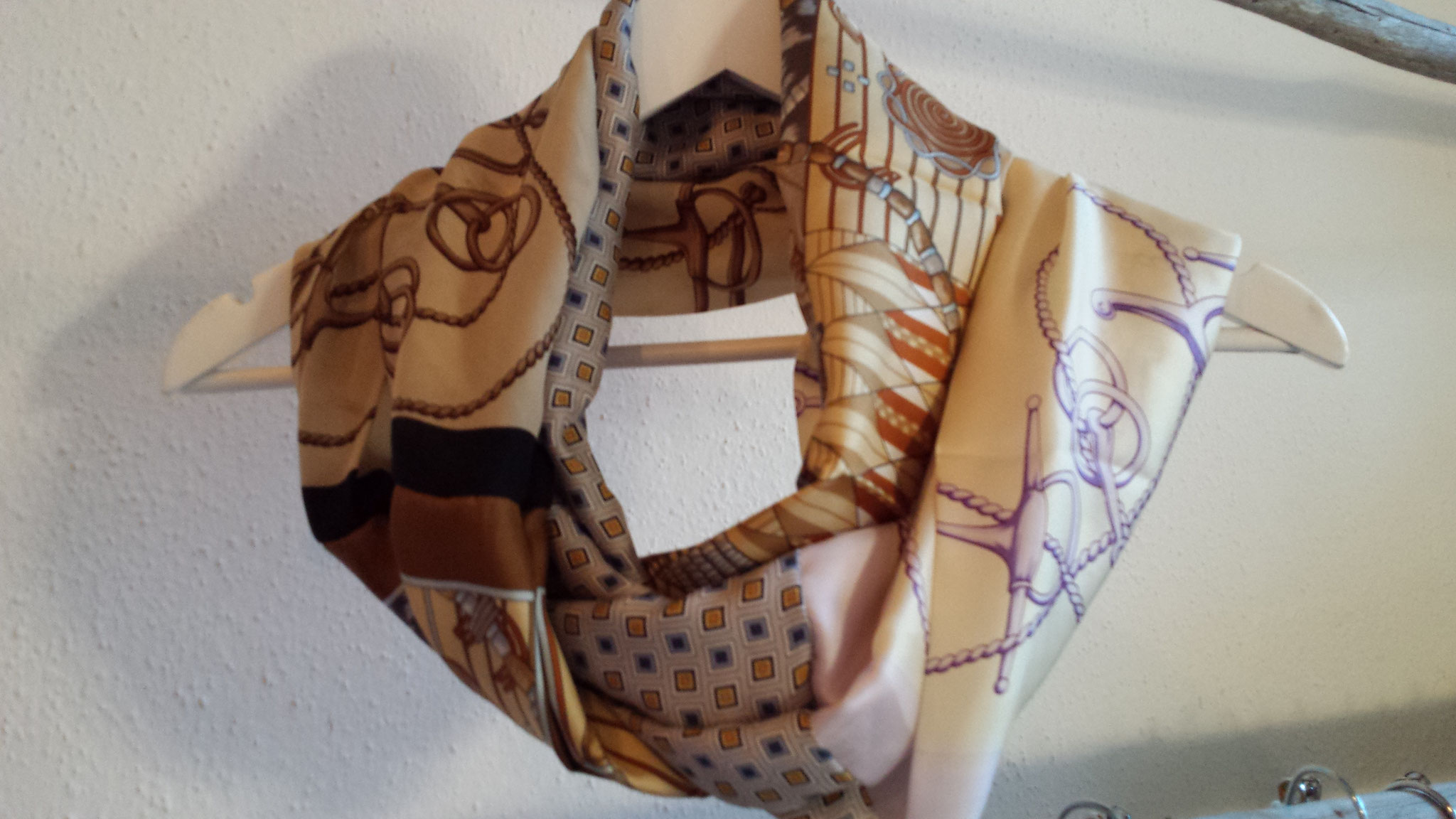 scarf from four silken pieces, sold, designed and made by Beate Gernhardt