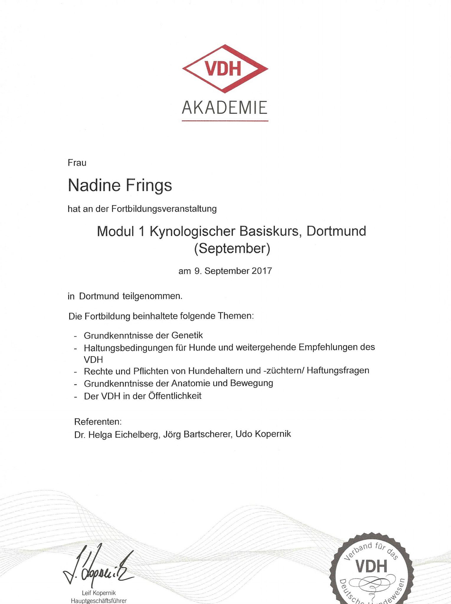 Kynologischer Basiskurs Modul 1 / 09. September 2017