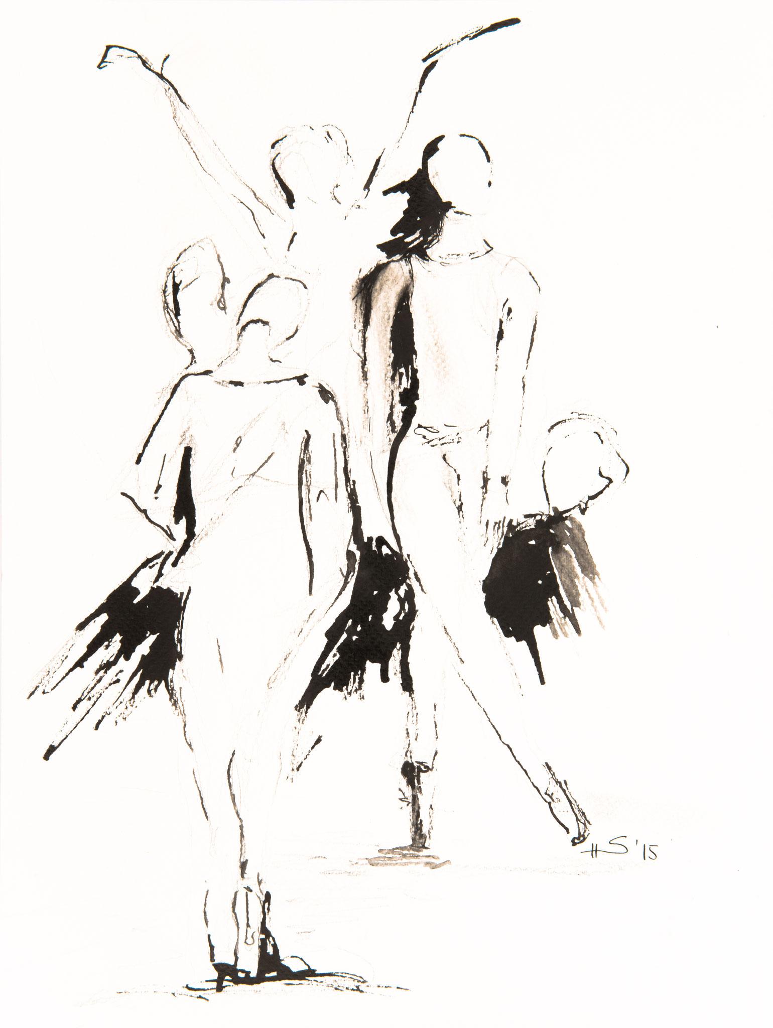 im Ballett, 21x30cm, Tuschezeichnung auf Papier