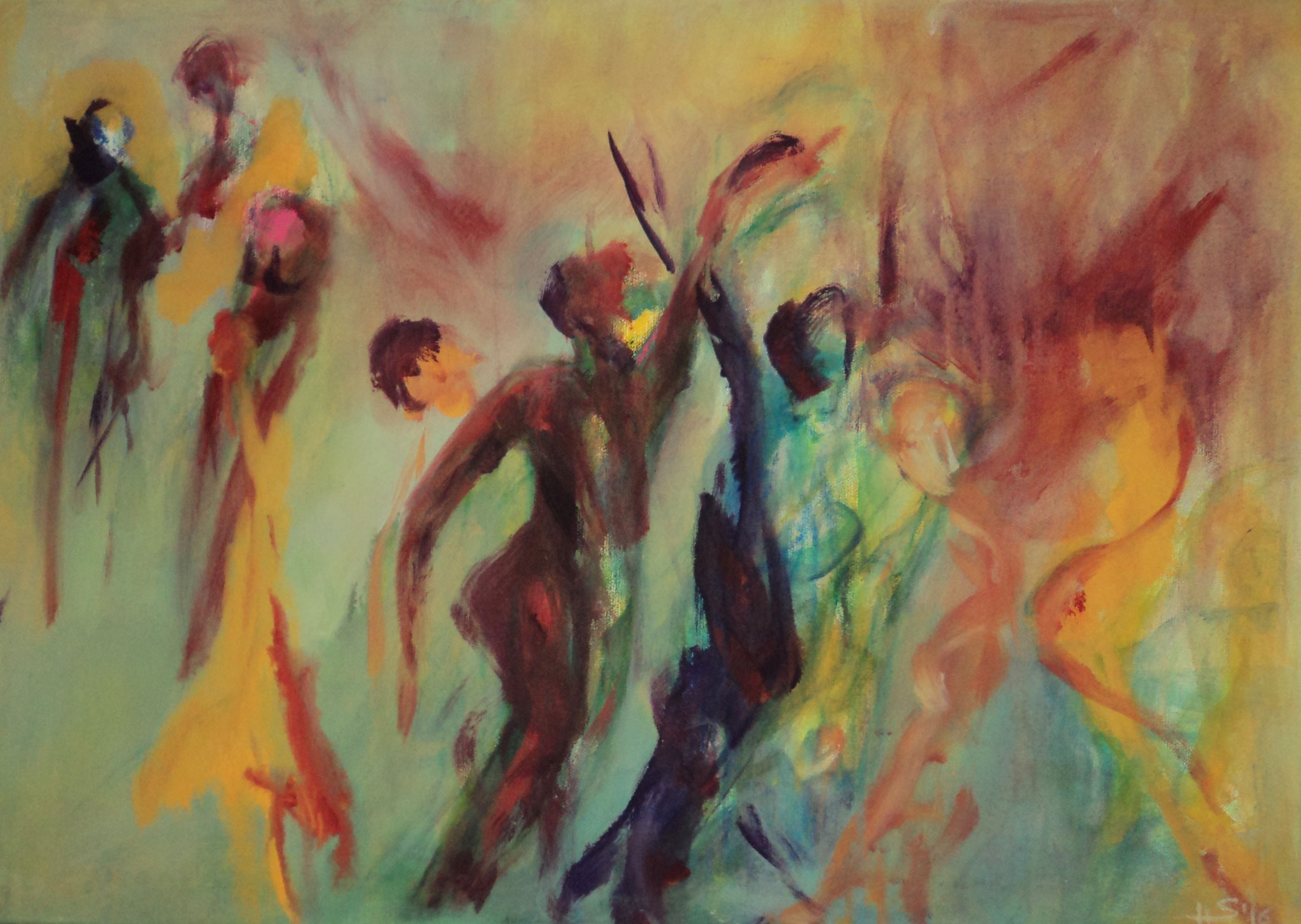 when we dance.50x70cm. Mischtechnik auf LW