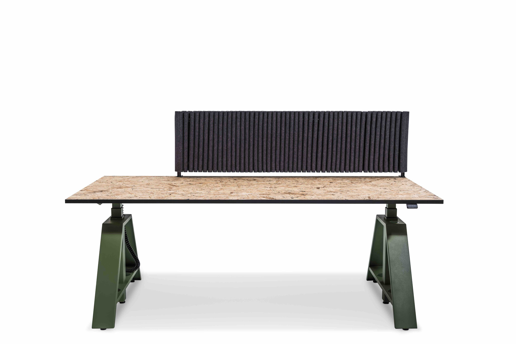 MOTU A PLUS, Gestell Resedagrün, Tischplatte OSB inkl. Akustikschutz
