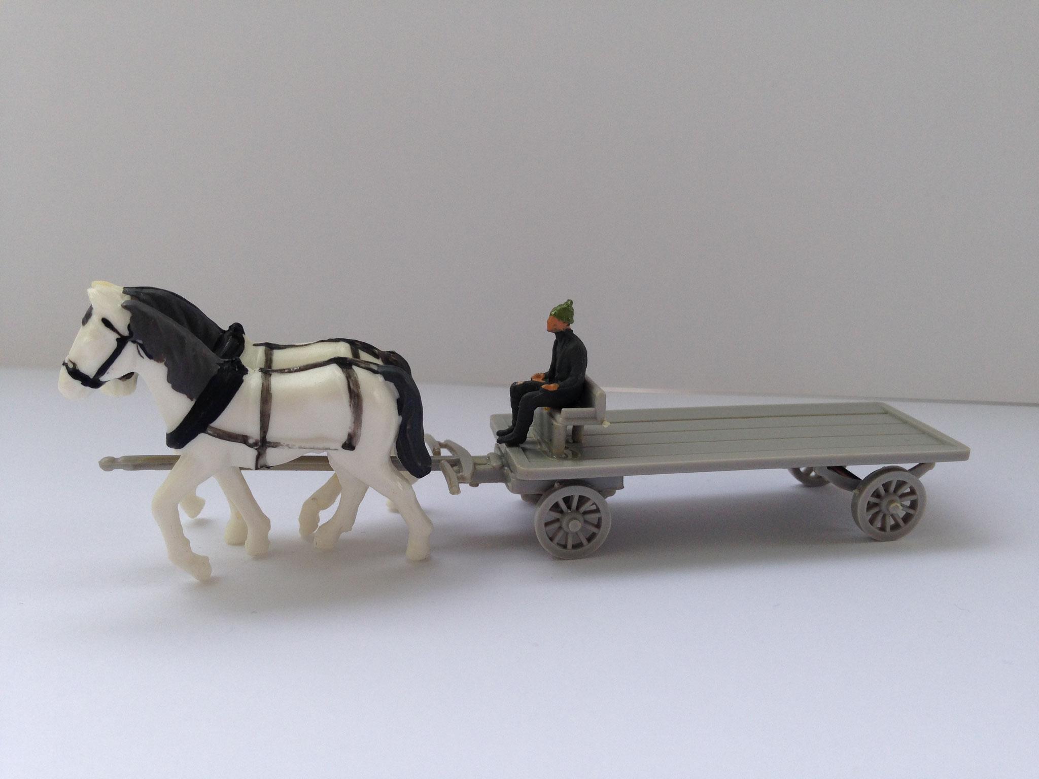 Plattenwagen mit Pferdegespann, Art. Nr. 203 (ab 1956/57 im Programm)