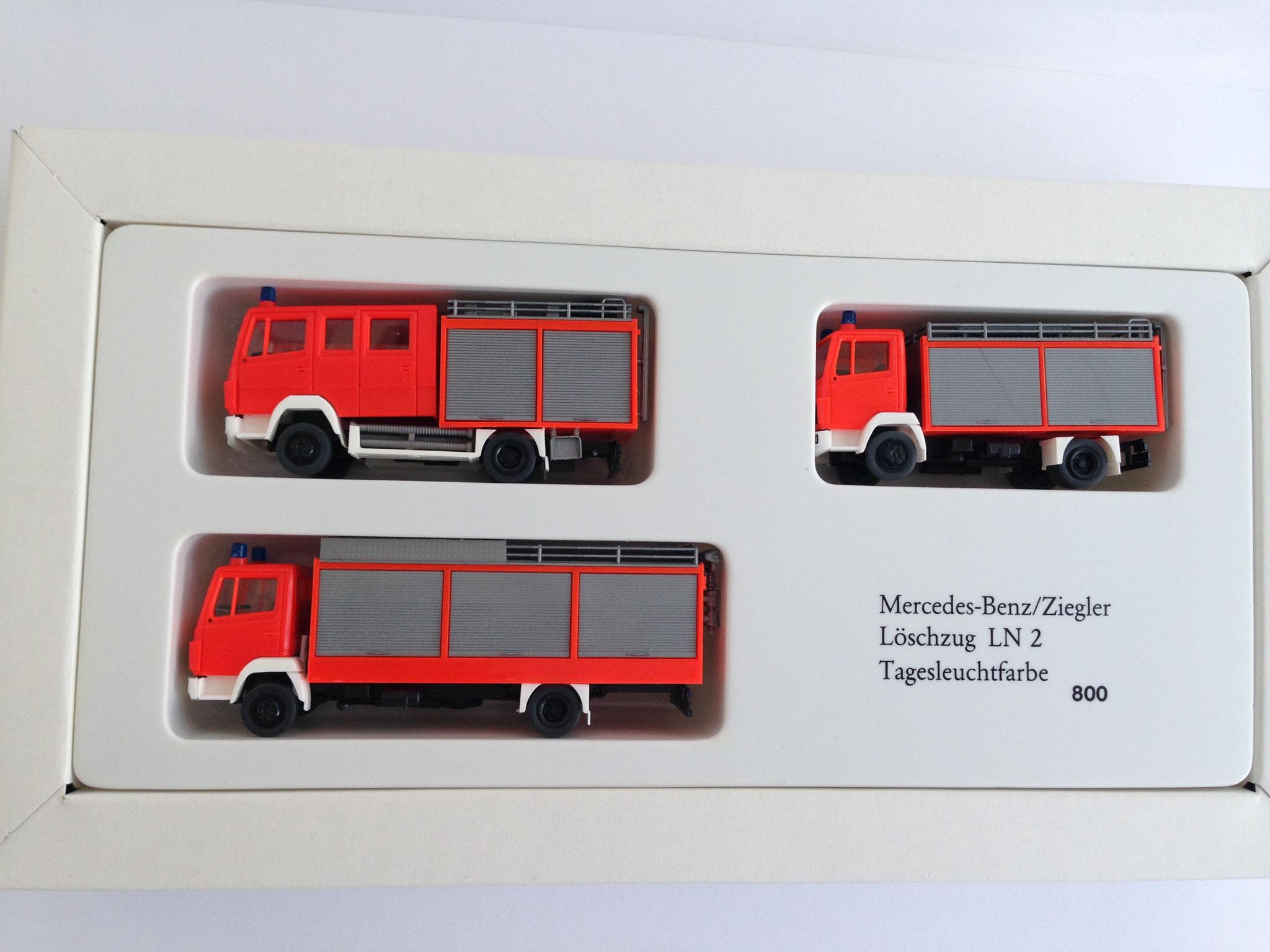 Set Feuerwehr in Tagesleuchtfarben, 3 Modelle, Art. Nr. 800 (ab 1987 im Programm)